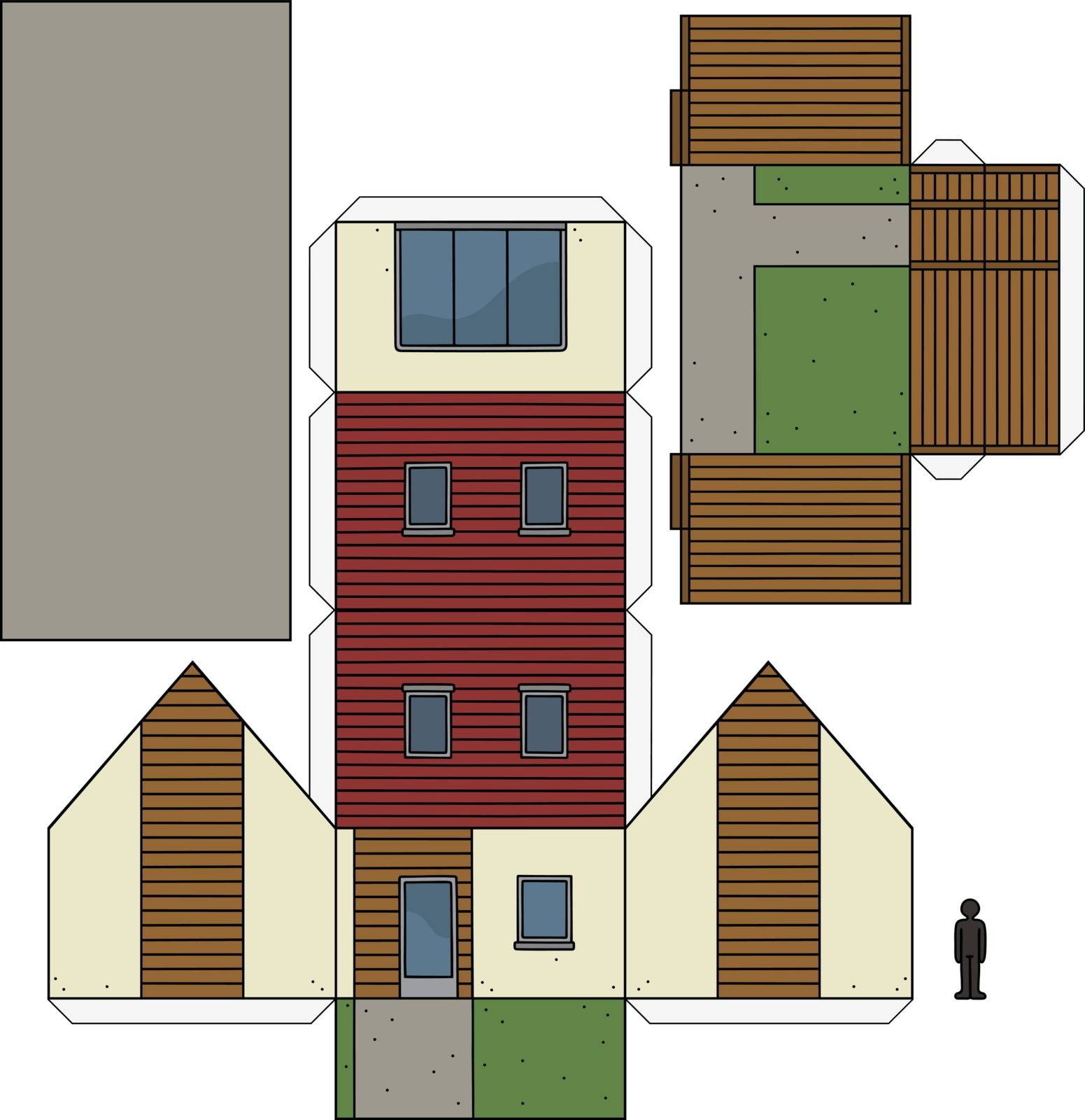 The paper model of a modern small house