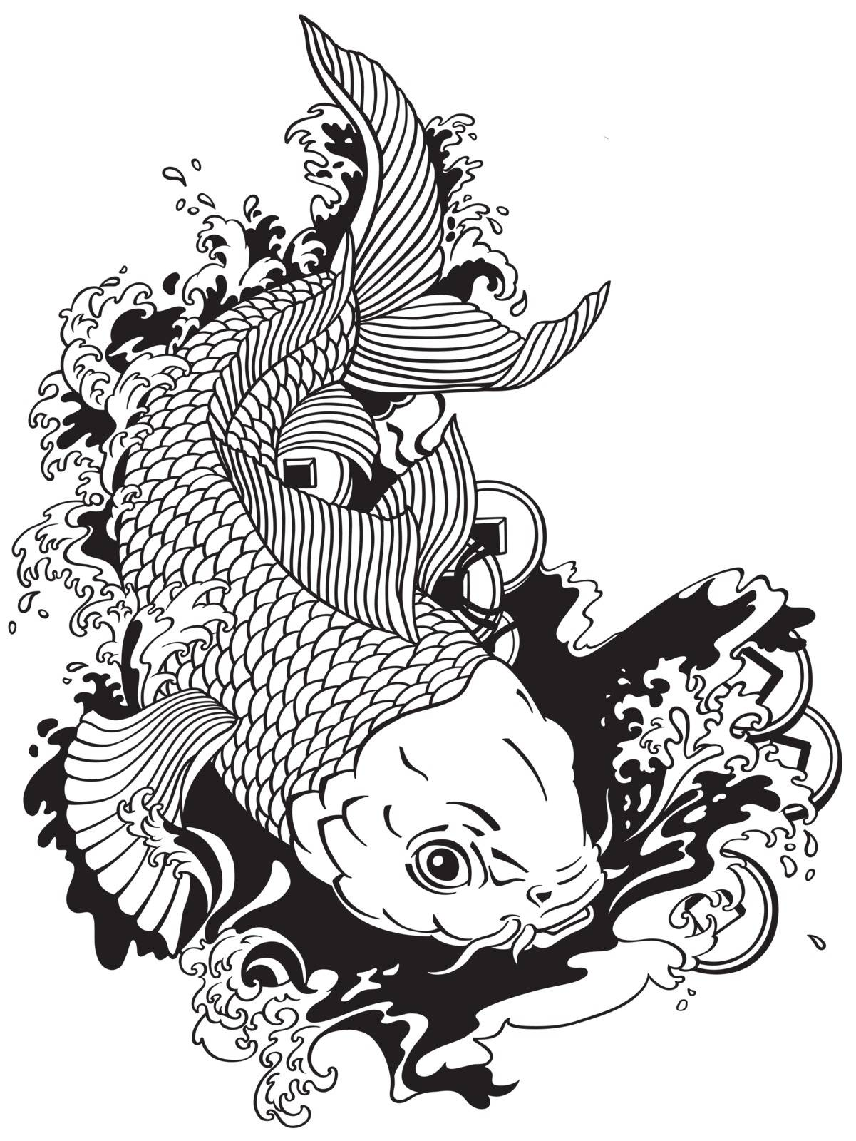 japanese carp koi gold fish swimming in a pond with feng shui money coins . Tattoo style black and white vector illustration