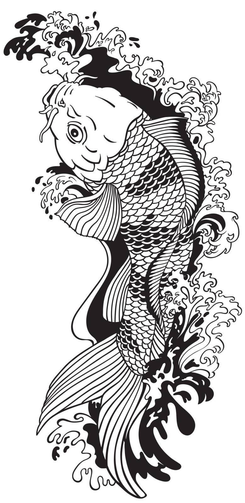 koi carp gold fish swimming upstream. Black and white vector illustration tattoo style drawing
