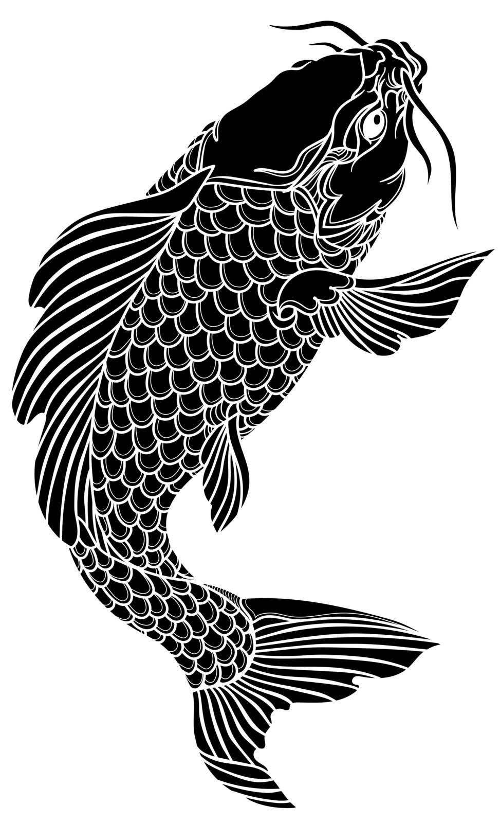 black koi carp fish swimming up. Tattoo. Isolated vector illustration