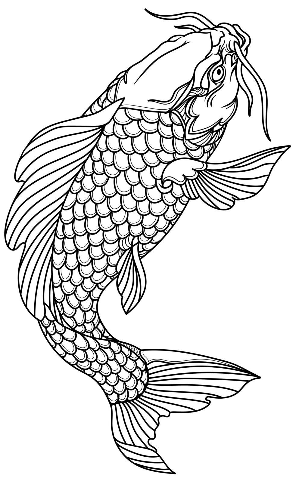 koi carp fish swimming up. Outline Tattoo. Isolated vector illustration