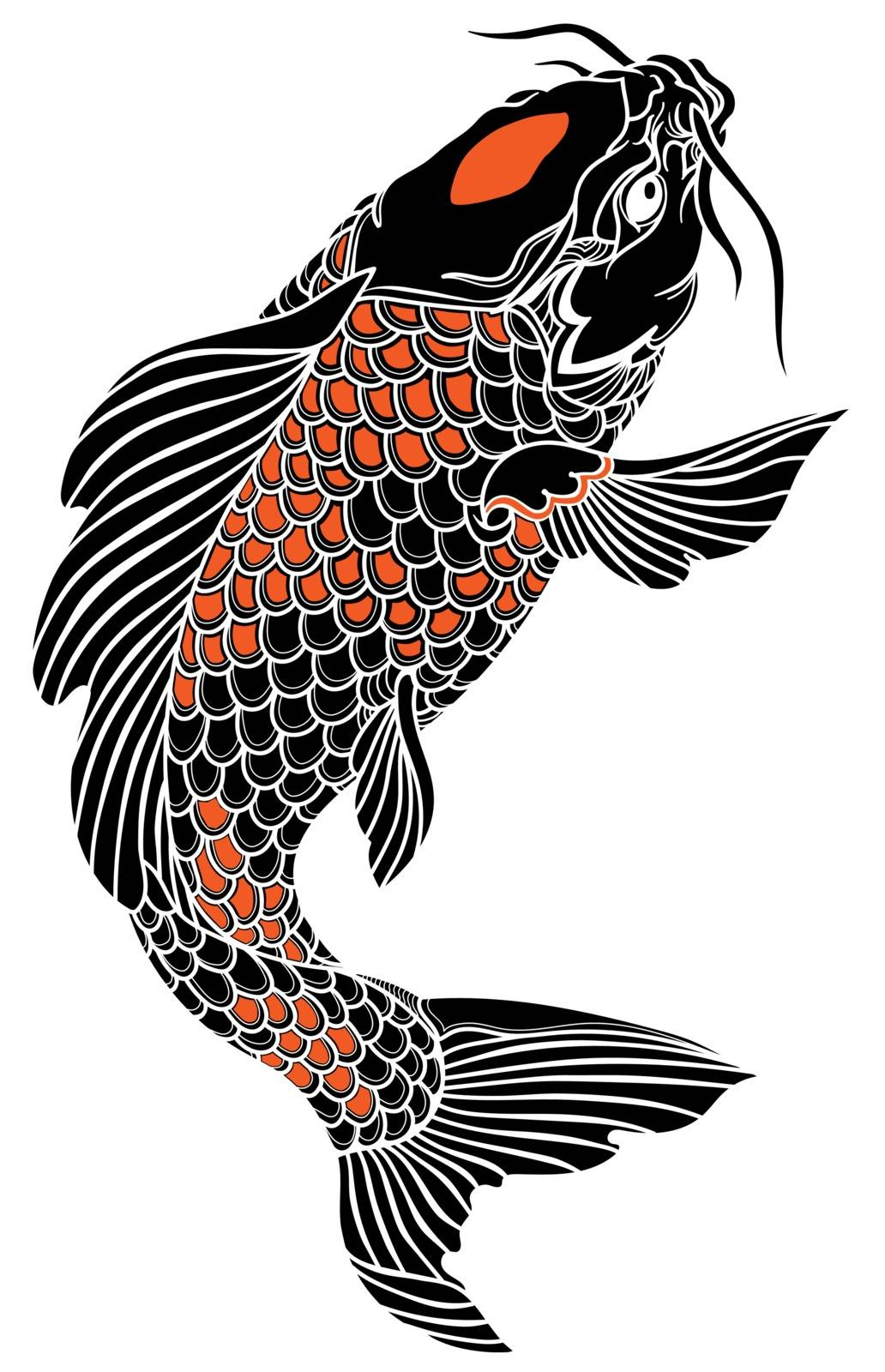 black and red Japanese koi carp fish swimming up. Tattoo. Isolated vector illustration