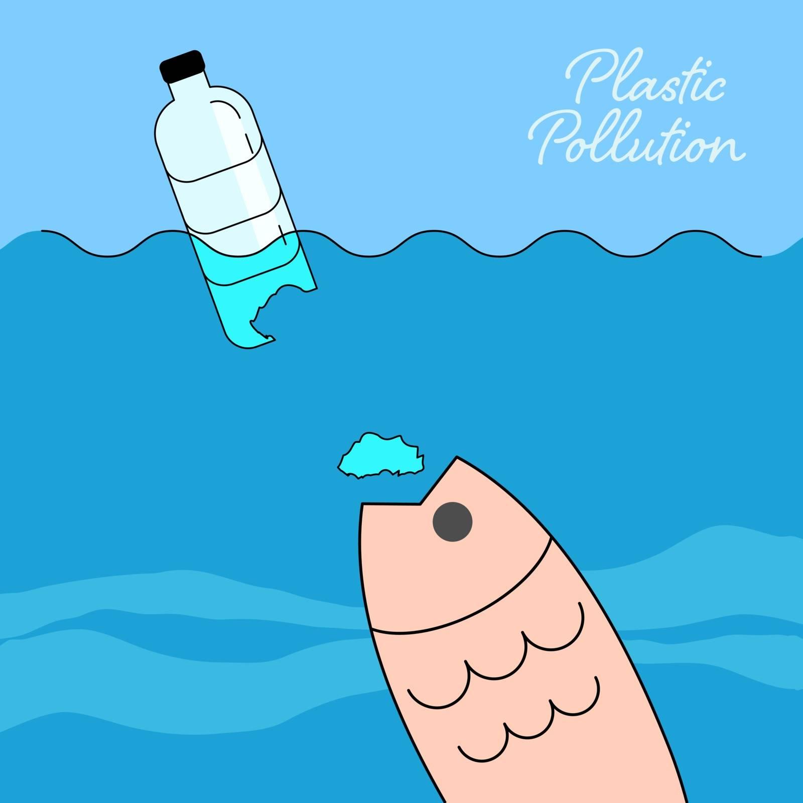 Plastic bottle fragments causing pollution in the ocean. Ocean plastic pollution concept. Vector illustration.