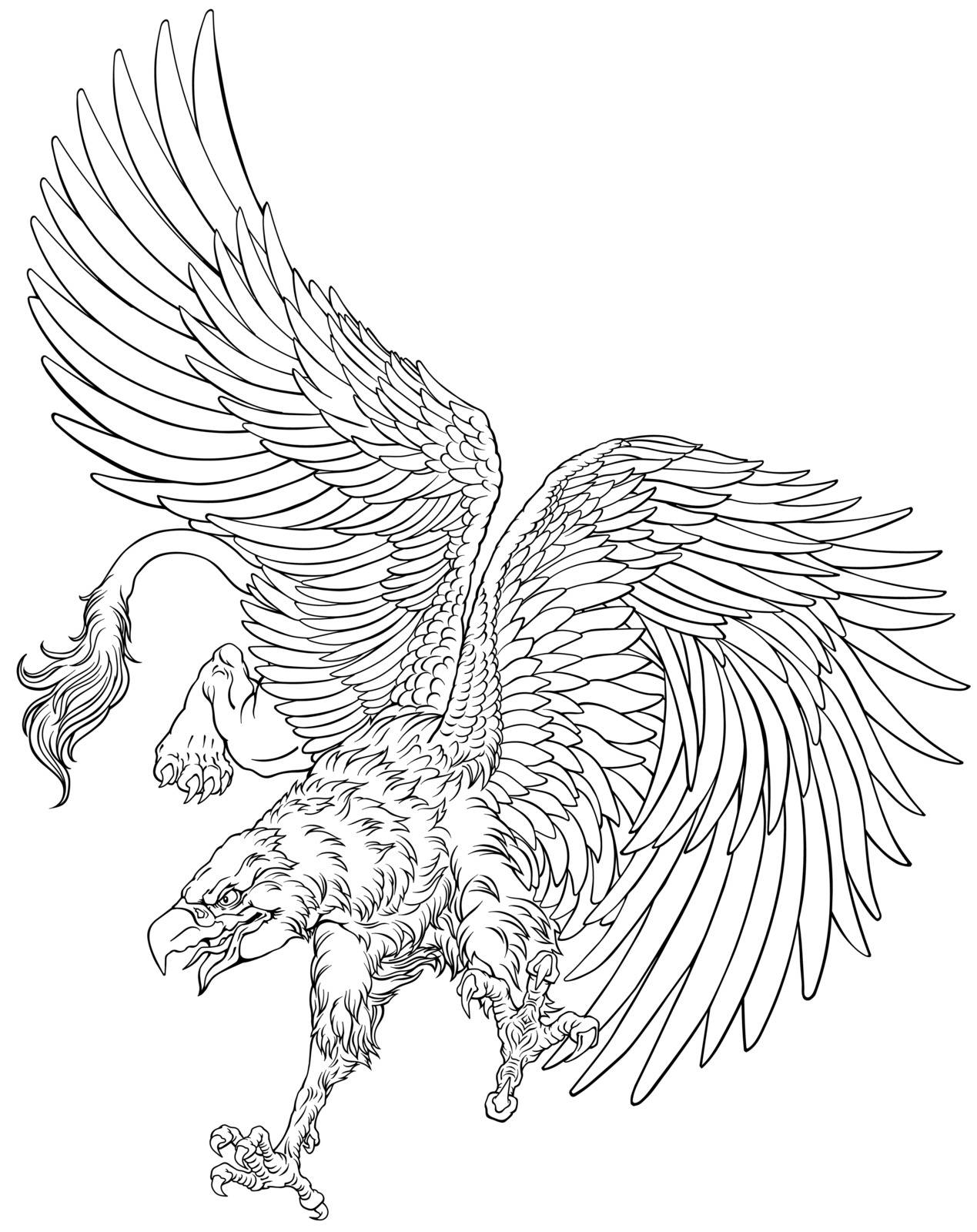 Flying Griffin, griffon, or gryphon. A mythical beast having the body of a lion and the wings and head of an eagle. Black and white outline vector illustration