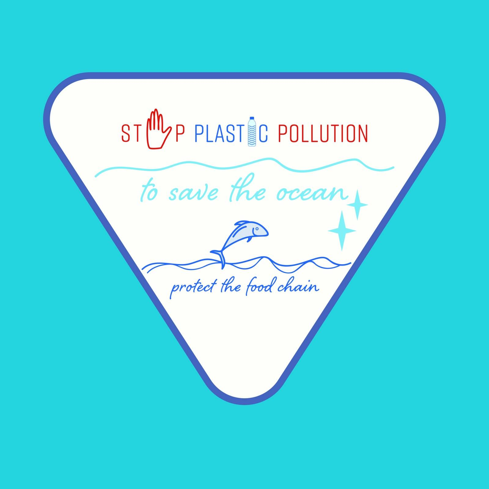 Set of typographic sign : stop plastic pollution, to save the ocean and protect the food chain. Environmental relation concept. Vector illustration.