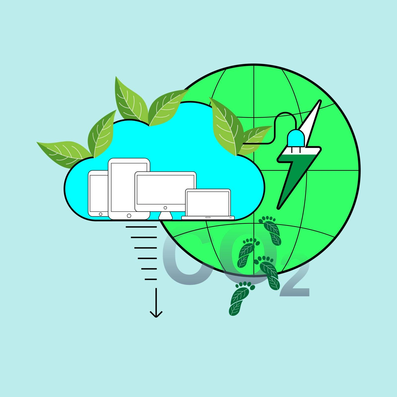 Cloud computing technology save energy and reduce carbon footprint. Environmental friendly cloud service concept. Vector illustration.