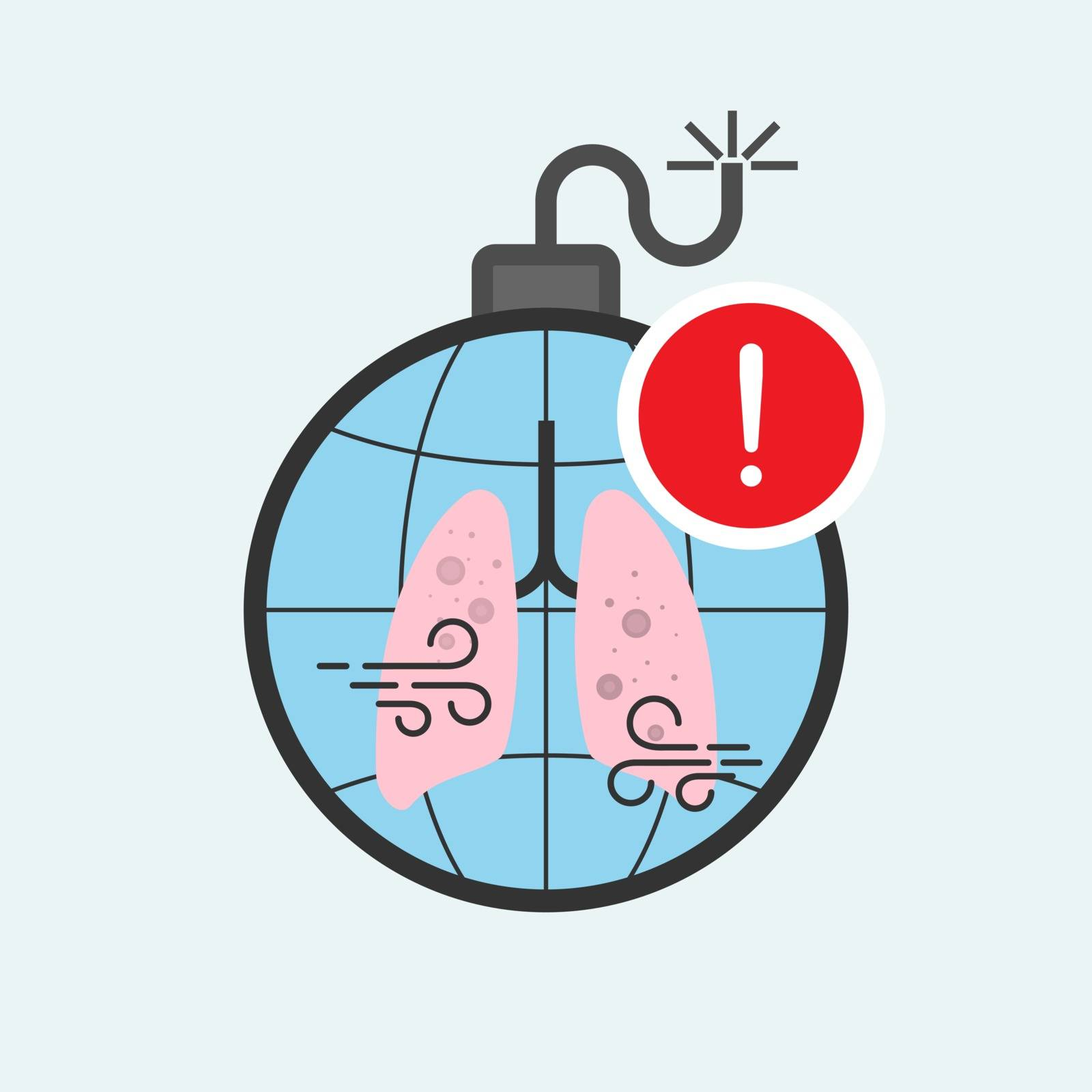 Time bomb concept. Health risk of air pollution metaphor. Raise public awareness of air pollution. Health impact alert symbol. Vector illustration flat design style.