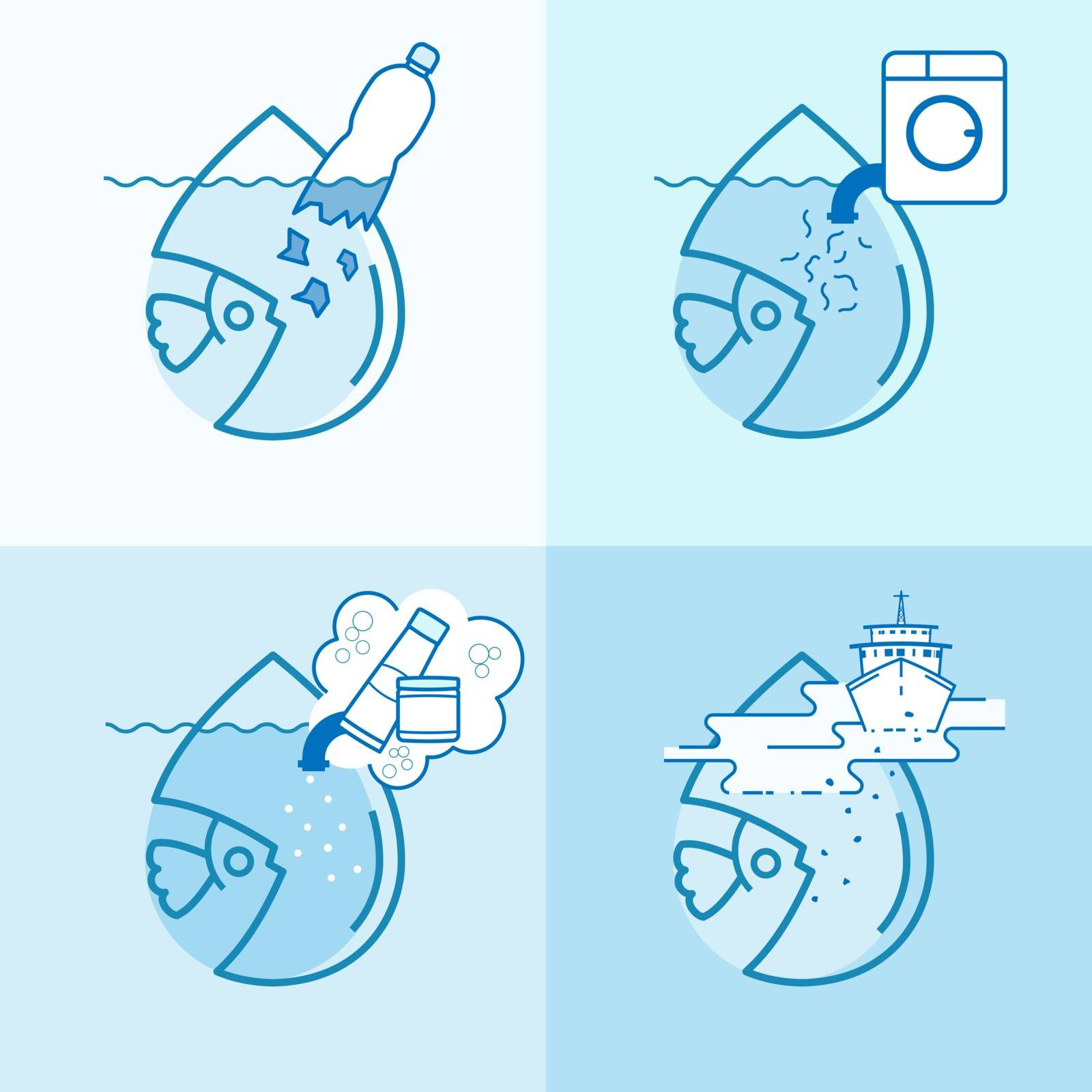 Microplastic pollution symbol set. Causes of contamination of water. Effect of toxic waste on marine animal. Vector illustration outline flat design style.