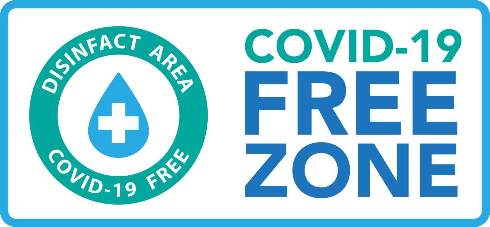 Covid free zone sign symbol.Vector eps10