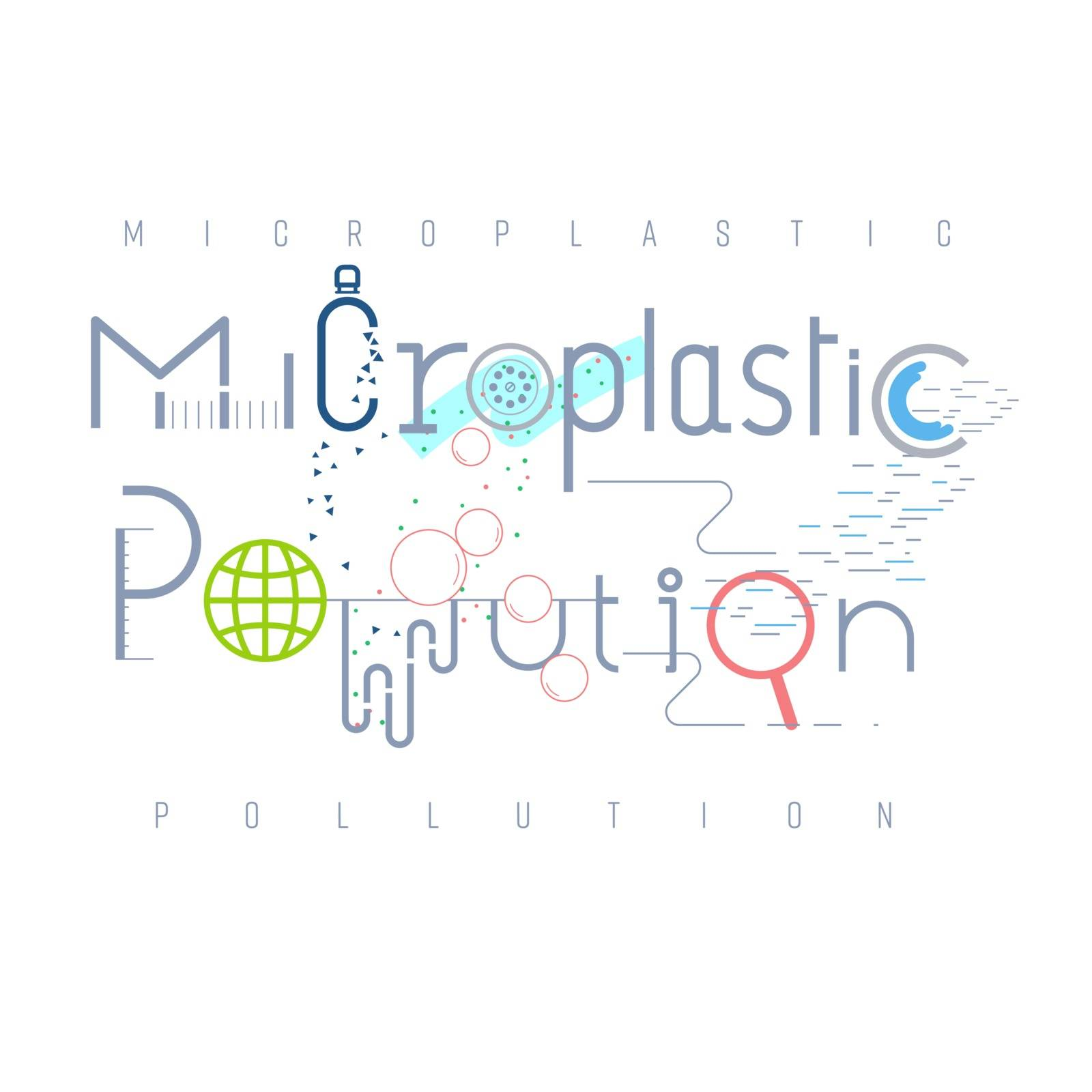 Microplastic pollution typographic design. Pictorial symbol. Types of plastic fragment less than 5 mm. causing pollution presented in pictorial form. Vector illustration outline flat design style.