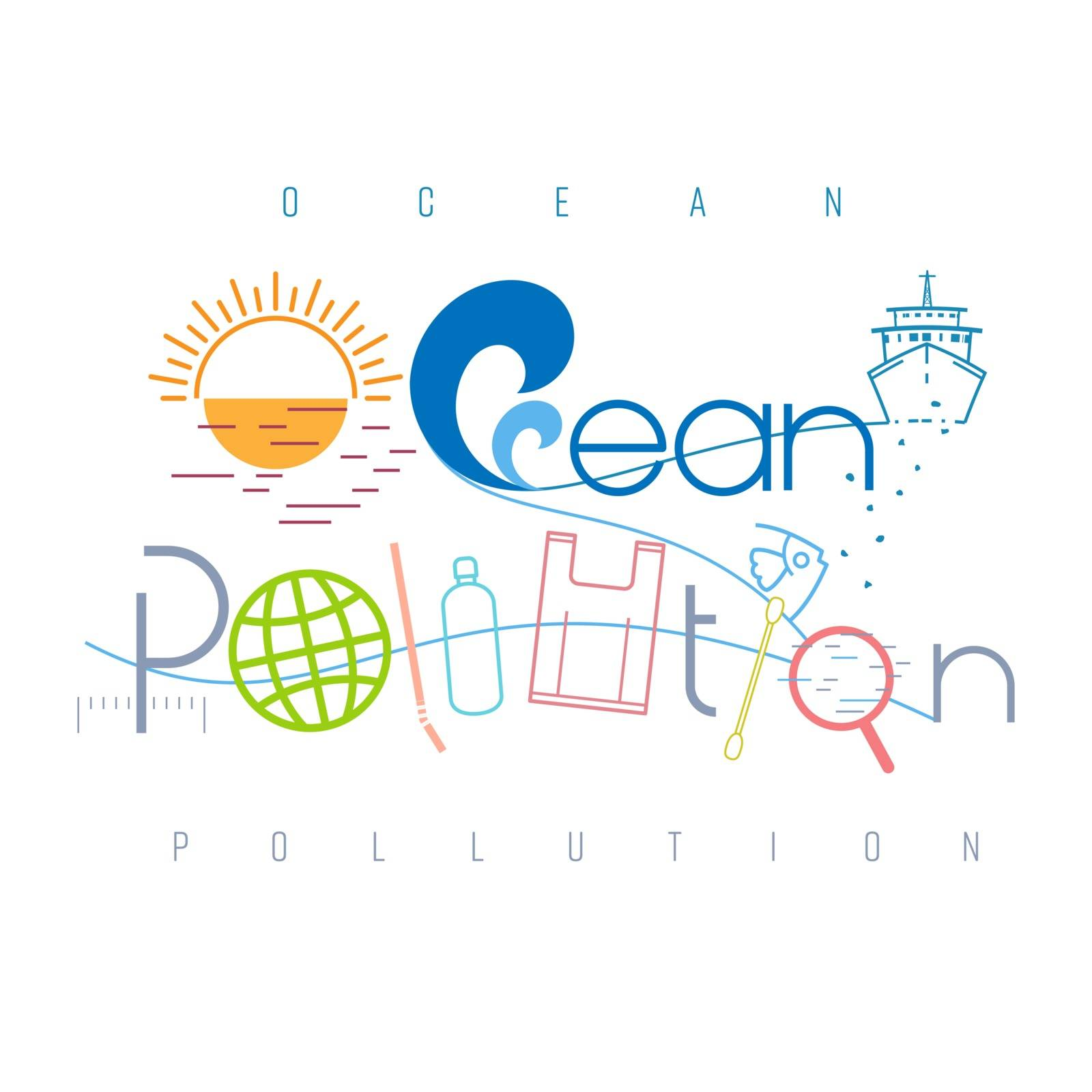 Ocean pollution typographic design. Pictorial symbol. Single-use plastic waste, oil and chemical causing ocean pollution presented in pictorial form. Vector illustration outline flat design style.