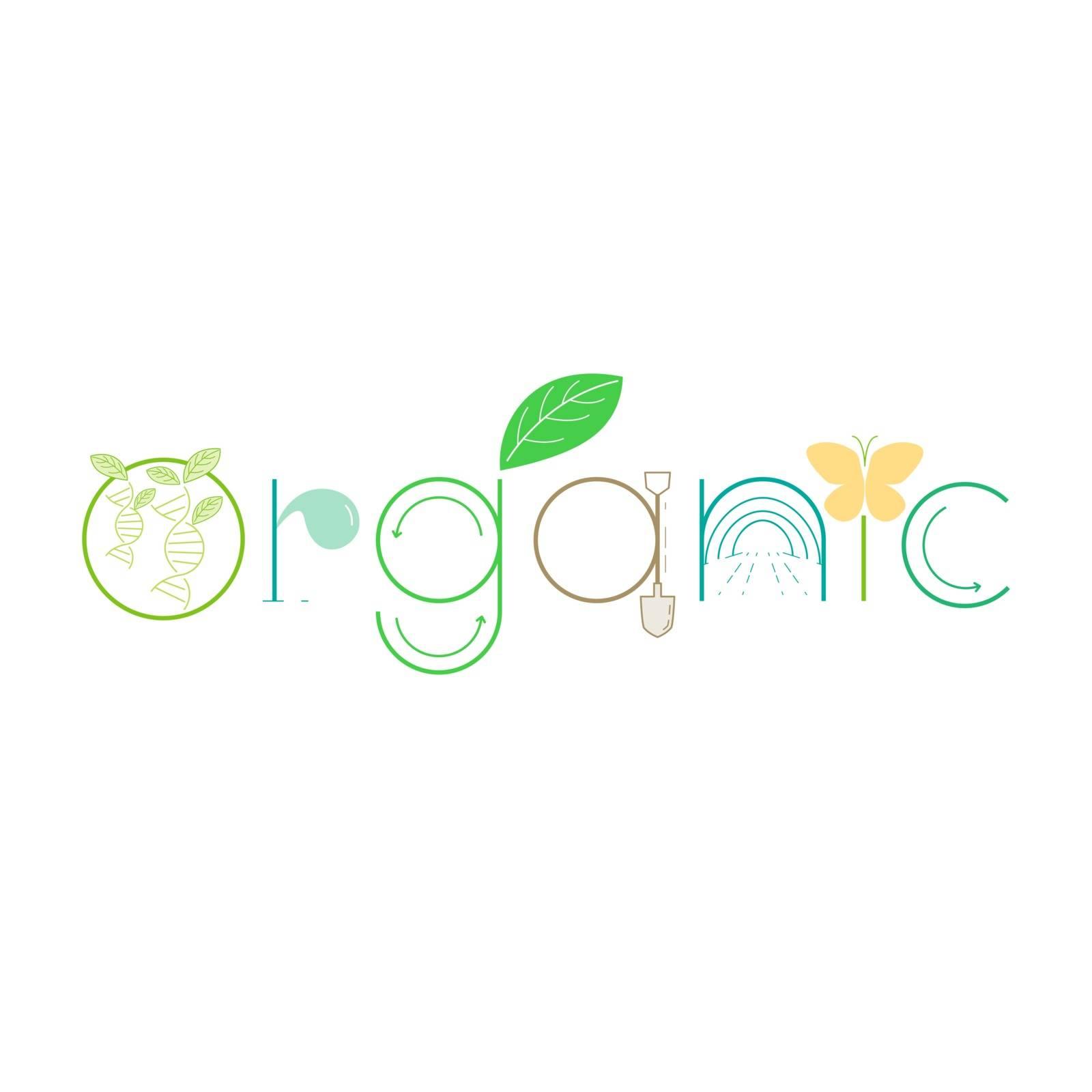 Organic typographic design. Vector illustration outline flat design style.