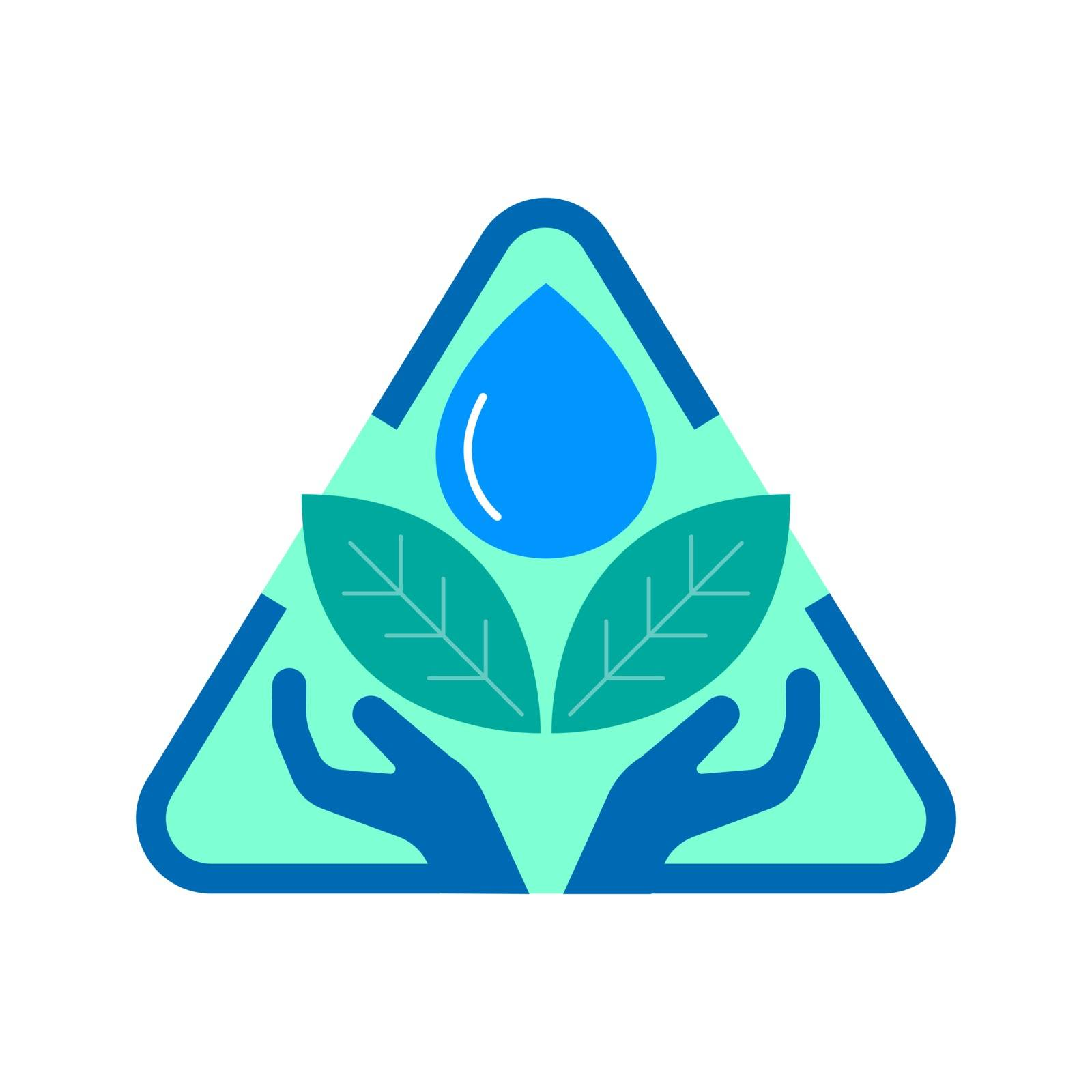 Protection hand, leaves and water drop in triangle shape. Environmental protection concept. Vector illustration outline flat design style.