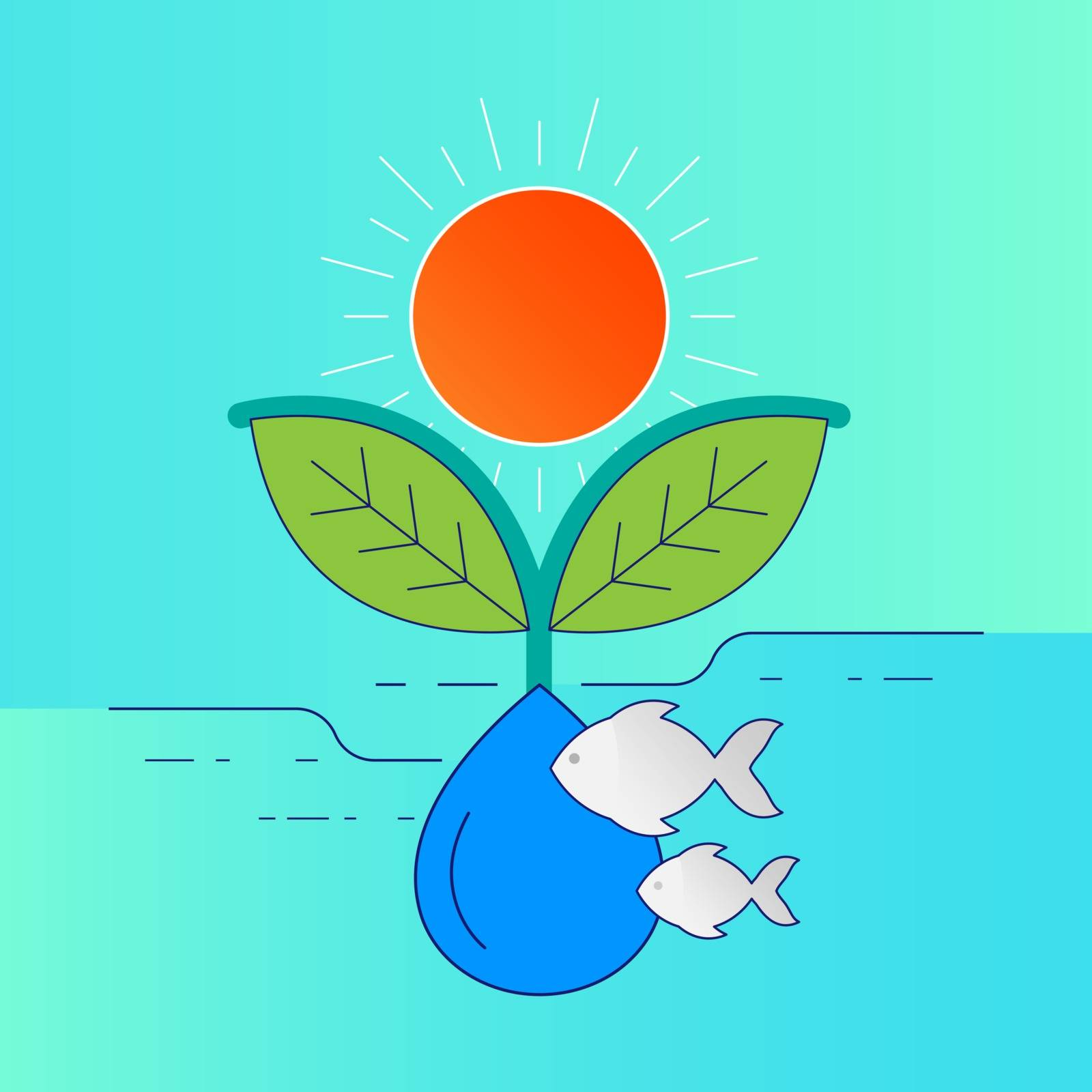 Sunlight,plant,animal and water. Environmental relevance concept. Vector illustration outline flat design style.