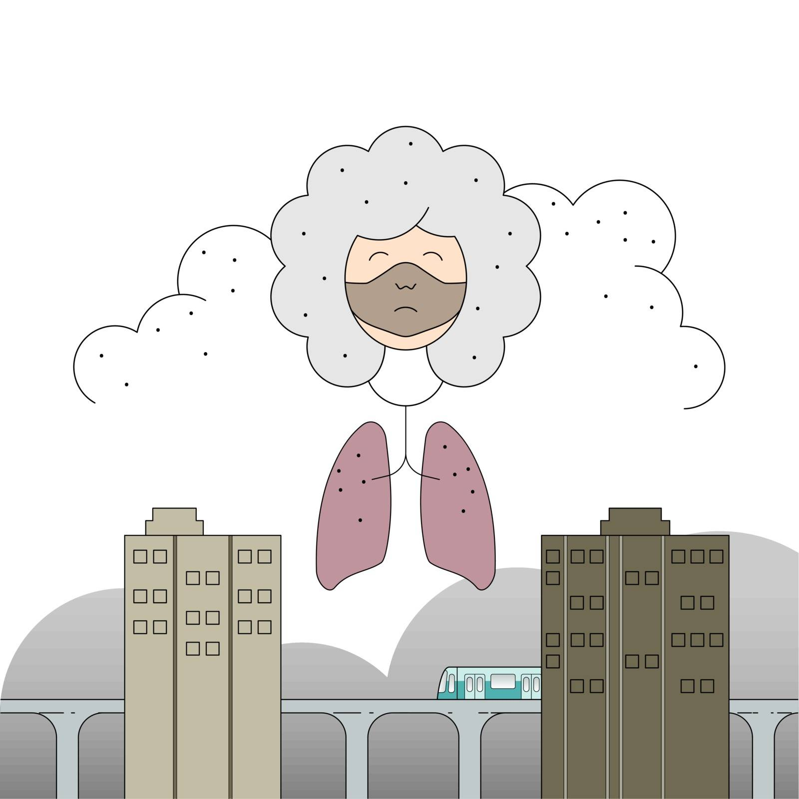 Air pollution in big city affect human health. Vector illustration outline flat design style.