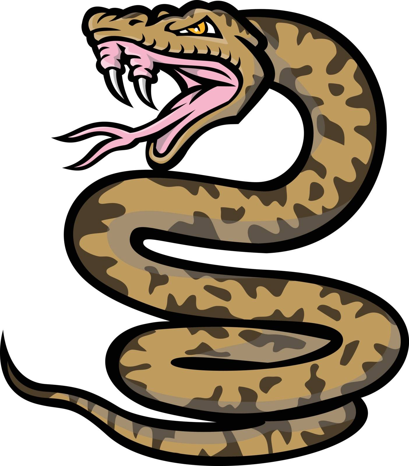 Mascot icon illustration of an aggressive habu snake, Okinawa habu or Kume Shima habu, a species of venomous pit viper endemic to Japan, baring it's fangs on isolated background in retro style.