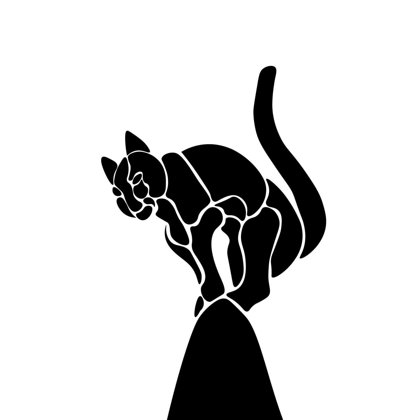 Illustration black cat standing on the roof, vector.