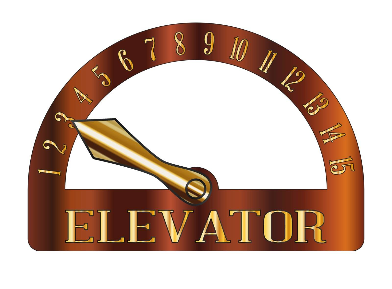 Isolated cartoon style elevator floor indicator isolated on a white background