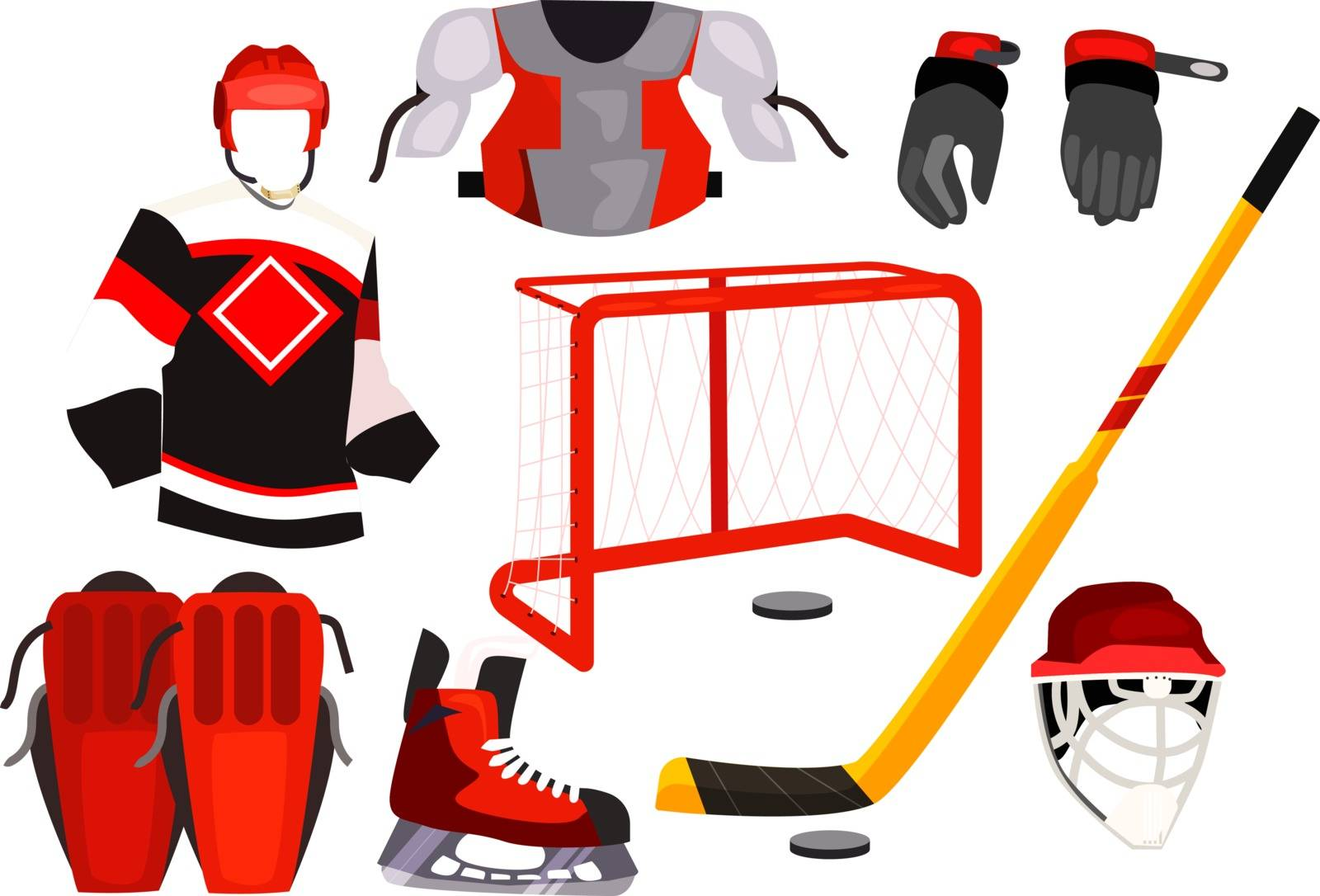Hockey equipment icons. Simple icons collection on white background. Helmet, skates, puck. Hockey concept. Illustrations can be used for topics like hockey, sport, winter