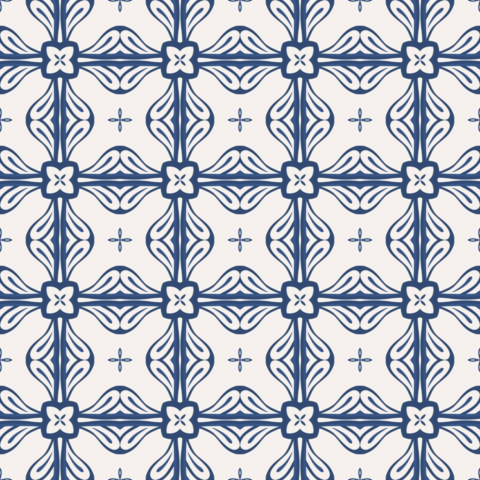 Seamless illustrated pattern made of abstract elements in light beige and shades of blue