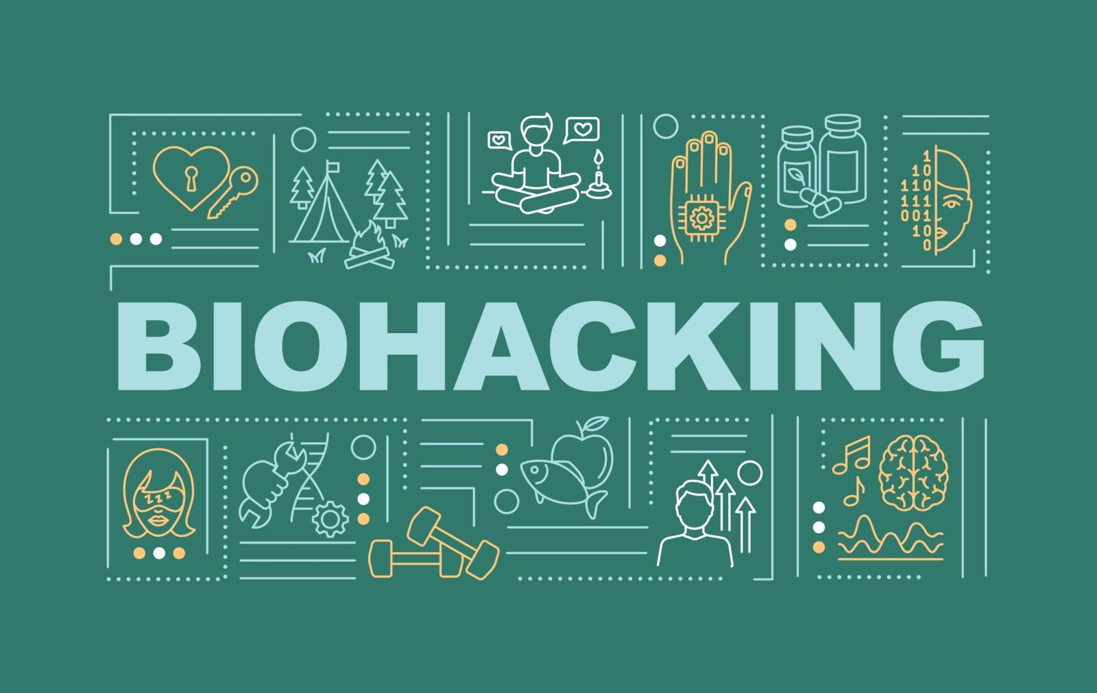 Biohacking word concepts banner. Body, mind and consciousness hacking. DIY biology infographics with linear icons on blue background. Isolated typography. Vector outline RGB color illustration