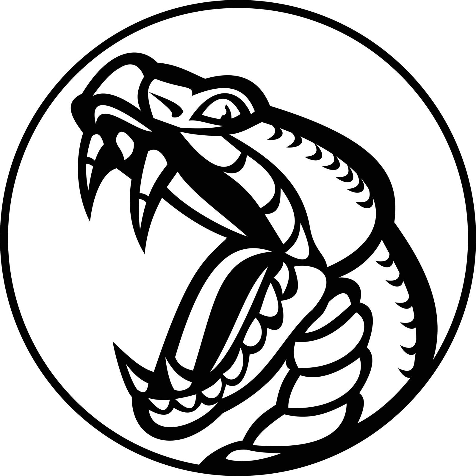 Mascot illustration of an aggressive copperhead or Agkistrodon contortrix, a species of venomous snake member of subfamily Crotalinae or pit viper set inside circle baring fangs in retro style.