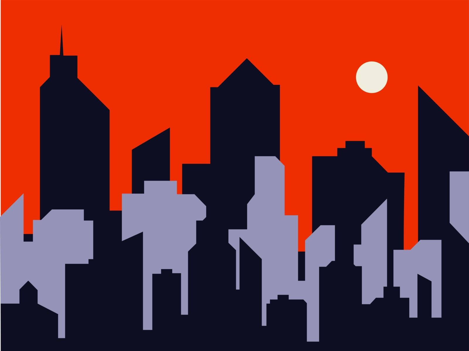 Silhouette of a city. Night in flat style. Modern urban landscape. Cityscape backgrounds. Vector illustration