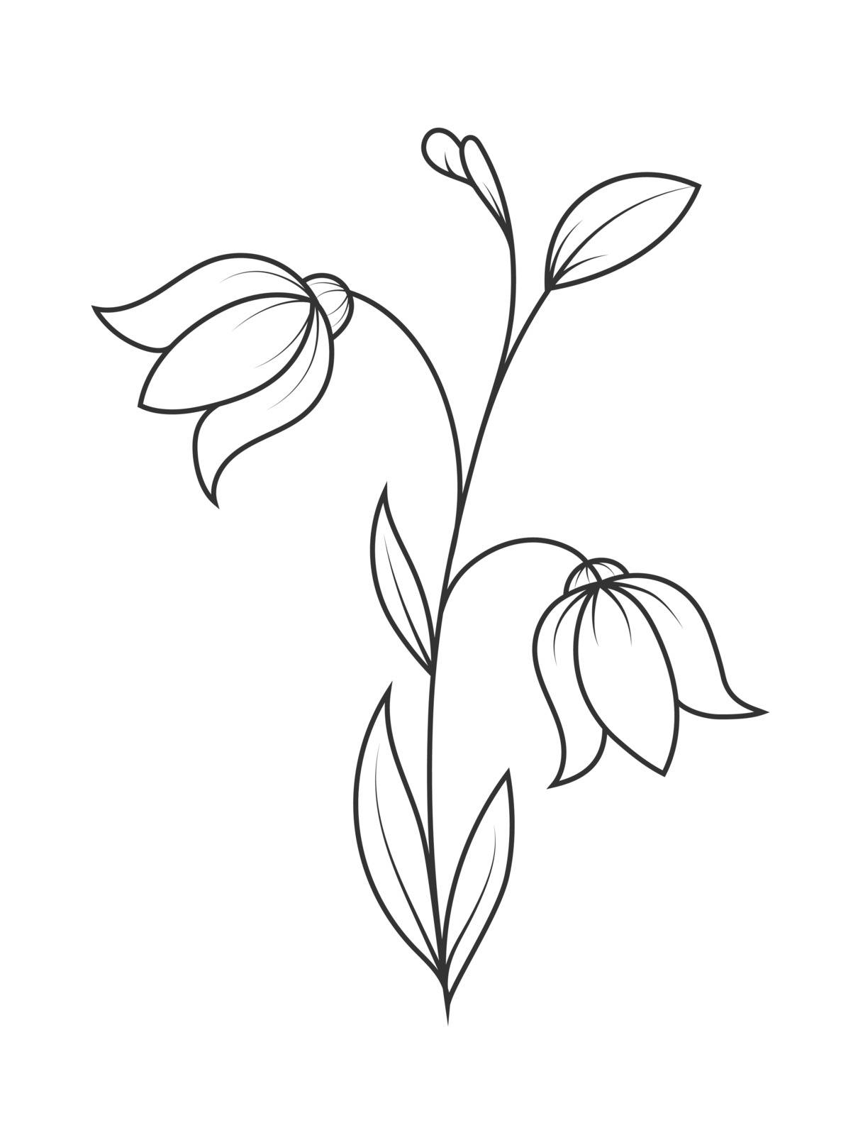 Empty outline of a flower with petals. A Doodle-style outline is isolated on a white background. Flat design for coloring books, postcards and decoration.