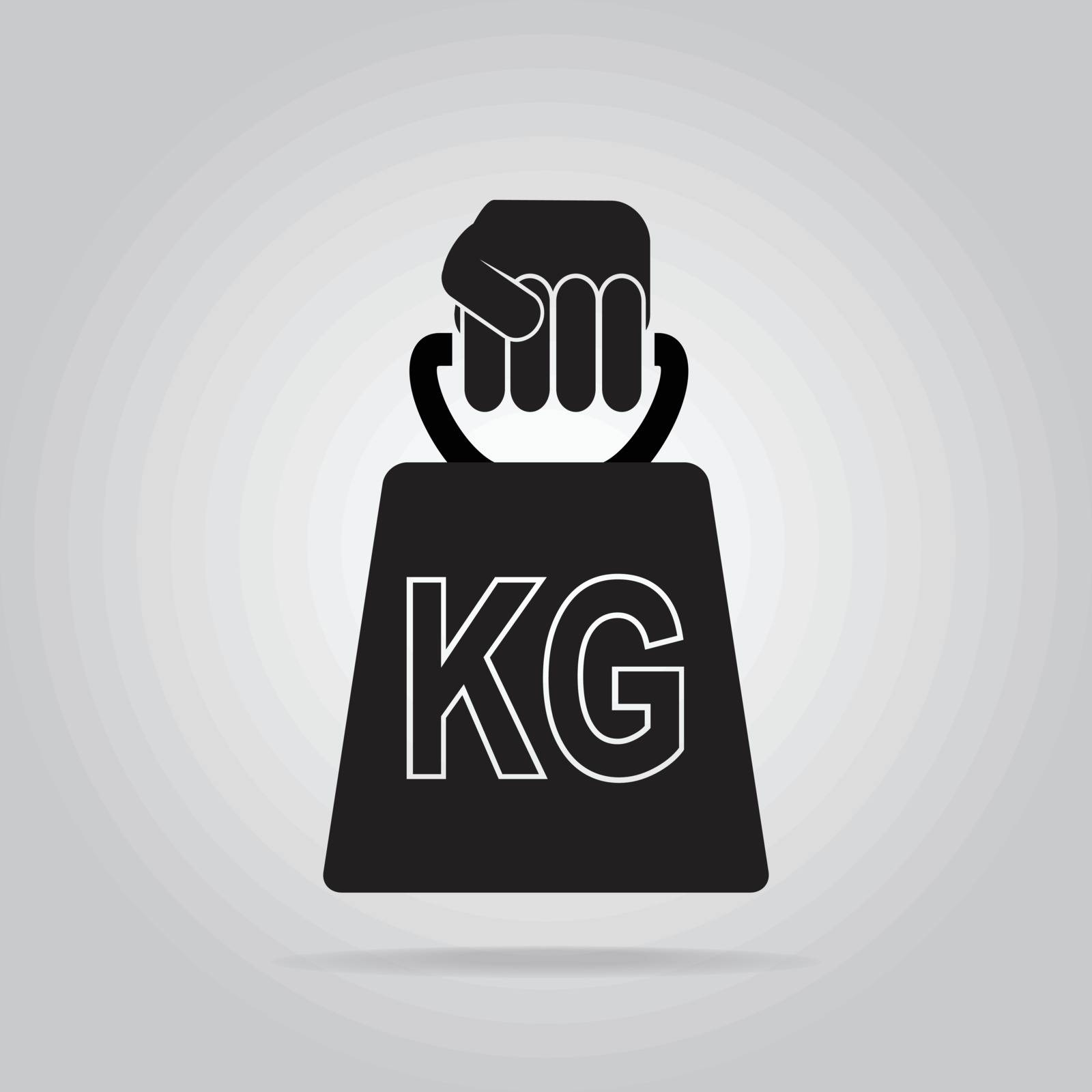 Hand holding with weight icon