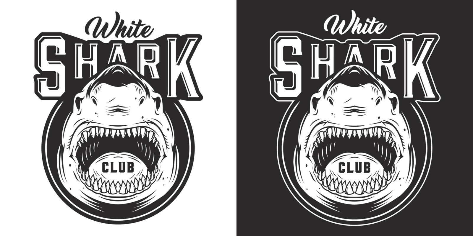 Angry aggressive shark monochrome print in vintage style isolated vector illustration