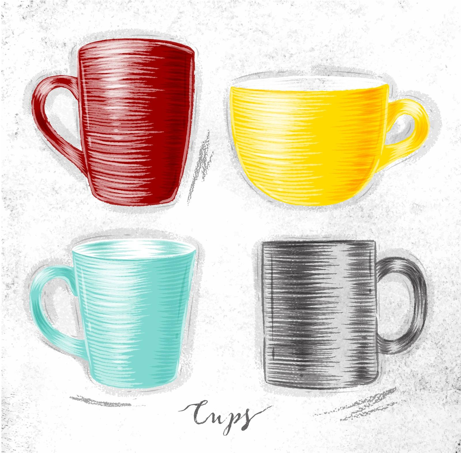 Set of cups different forms drawing in red, yellow, turquoise, gray color on dirty paper background