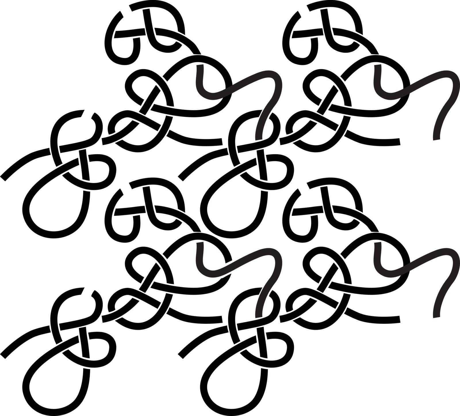 Seamles pattern made of illustrated entangled black lines on white
