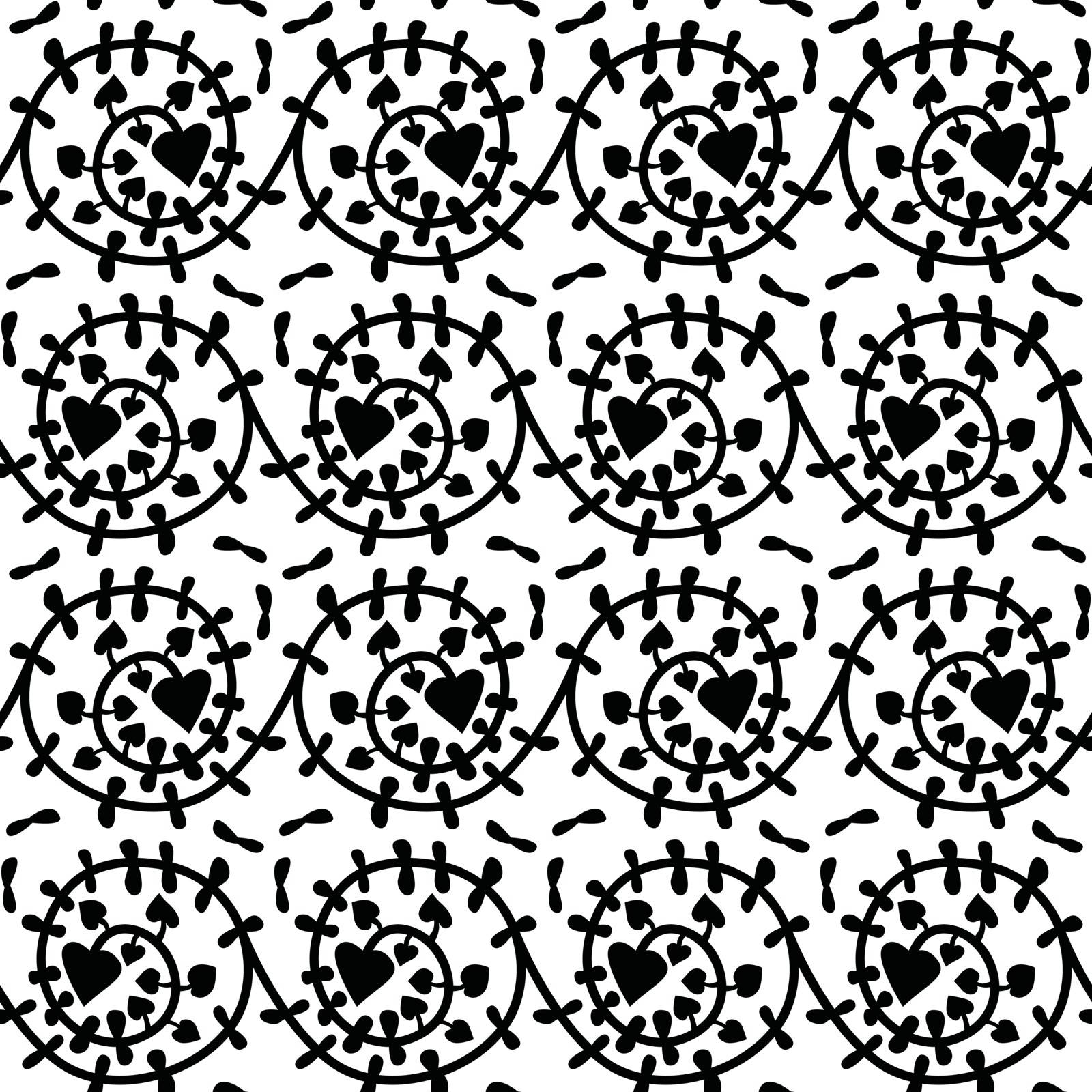Seamless illustrated pattern made of illustrated black floral element on white