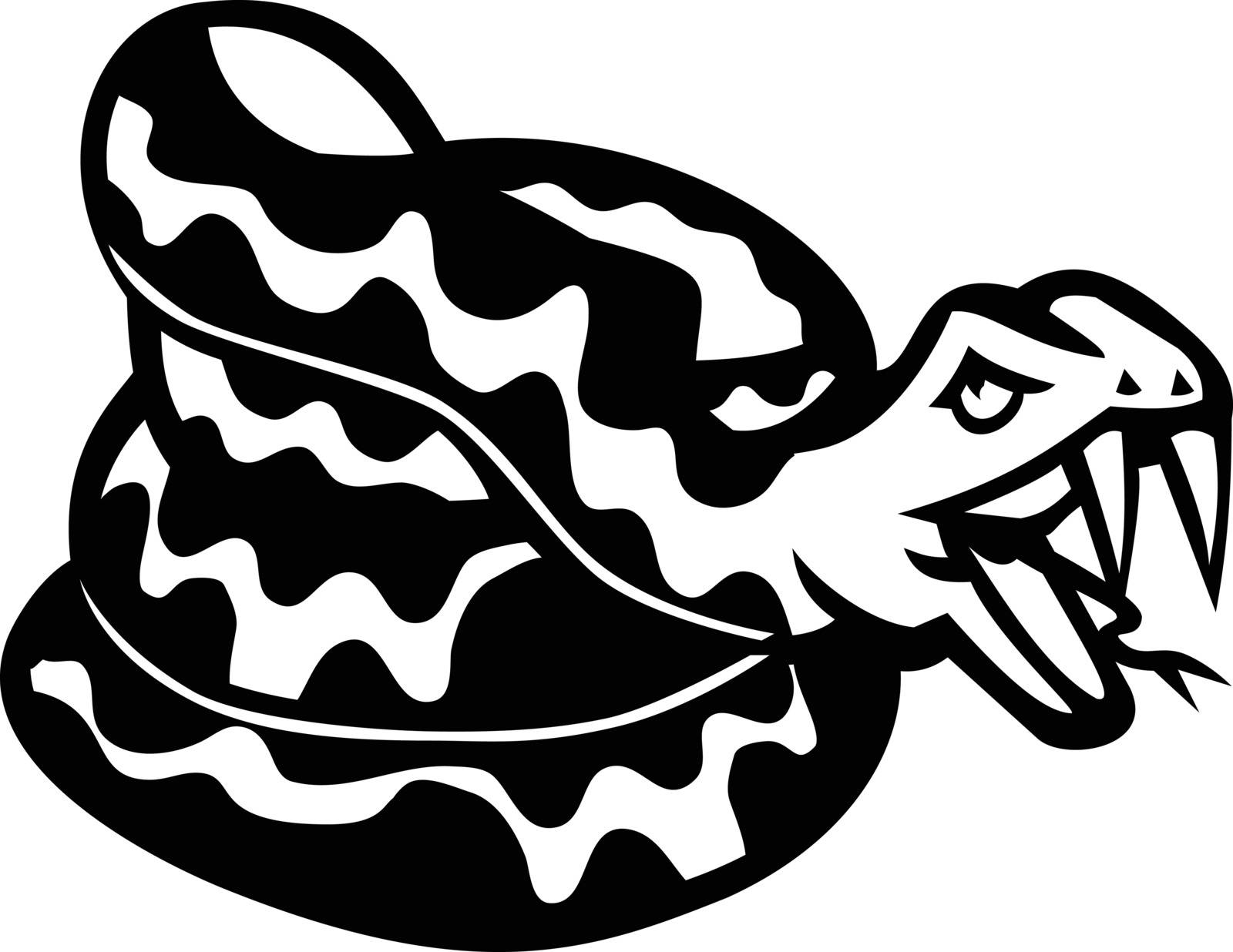 Black and white illustration of head of an aggressive coiled snake, viper or  python don't tread on me viewed from side on isolated background in retro style.