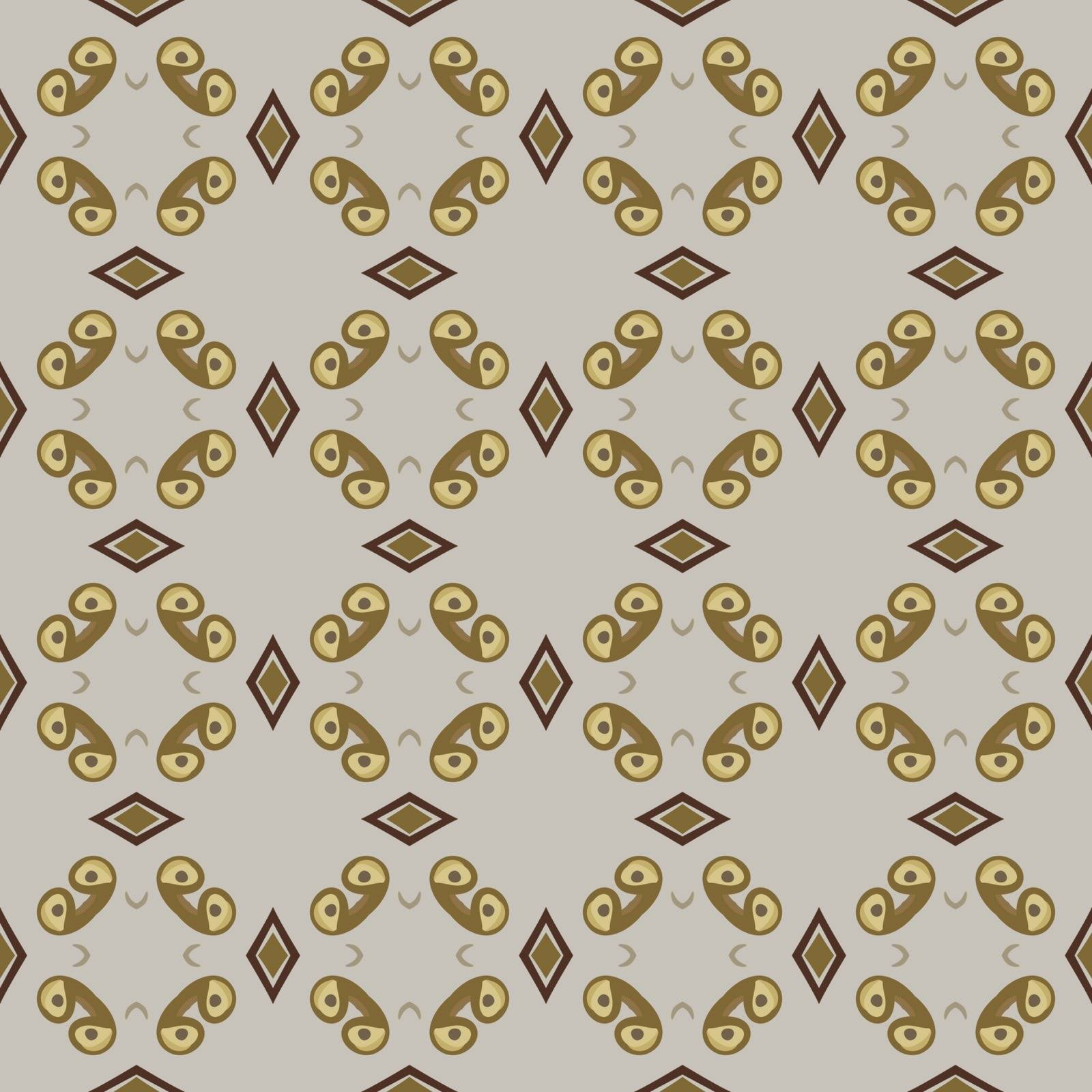 Seamless illustrated pattern made of abstract elements in beige, brown and yellow