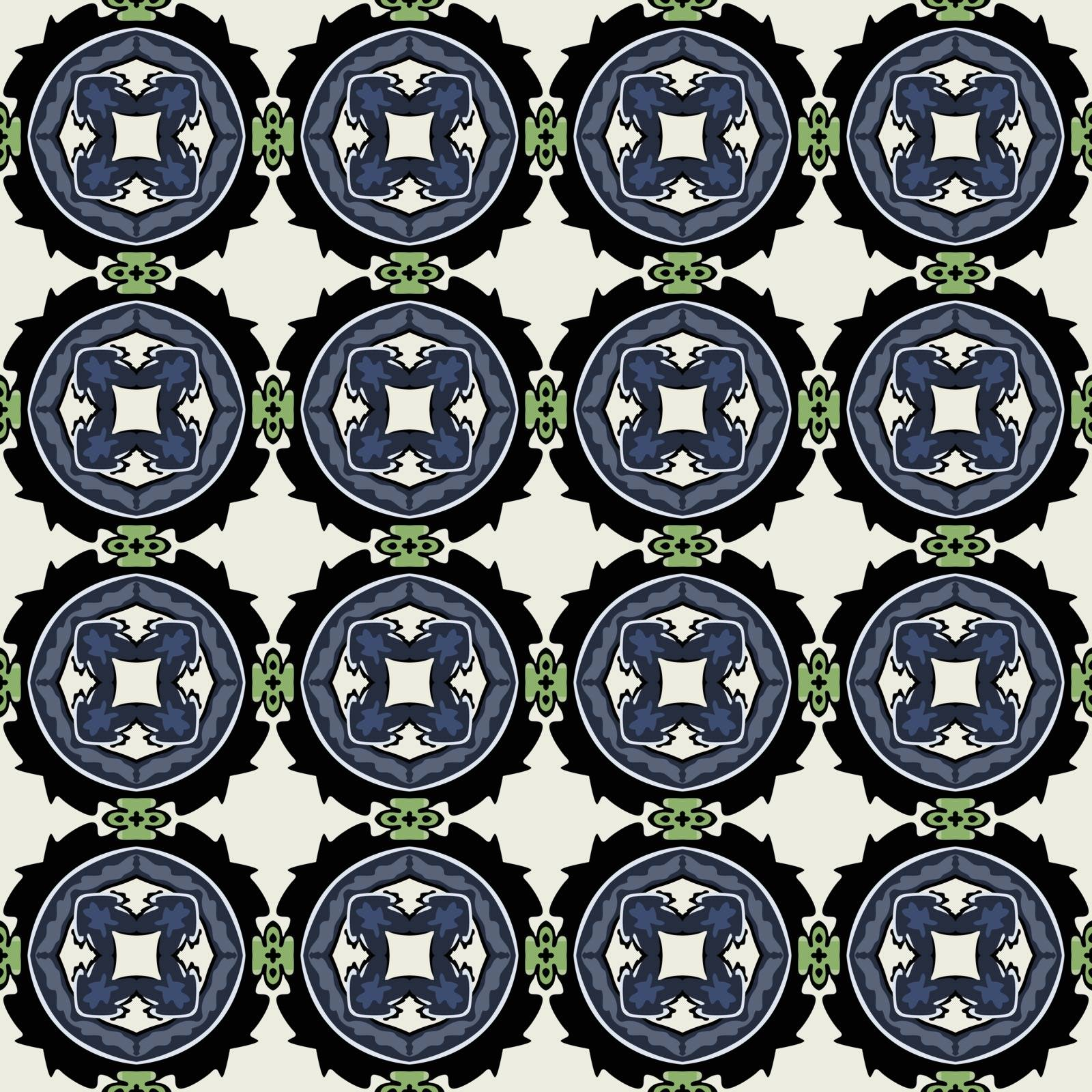 Seamless illustrated pattern made of abstract elements in beige,blue, green and black