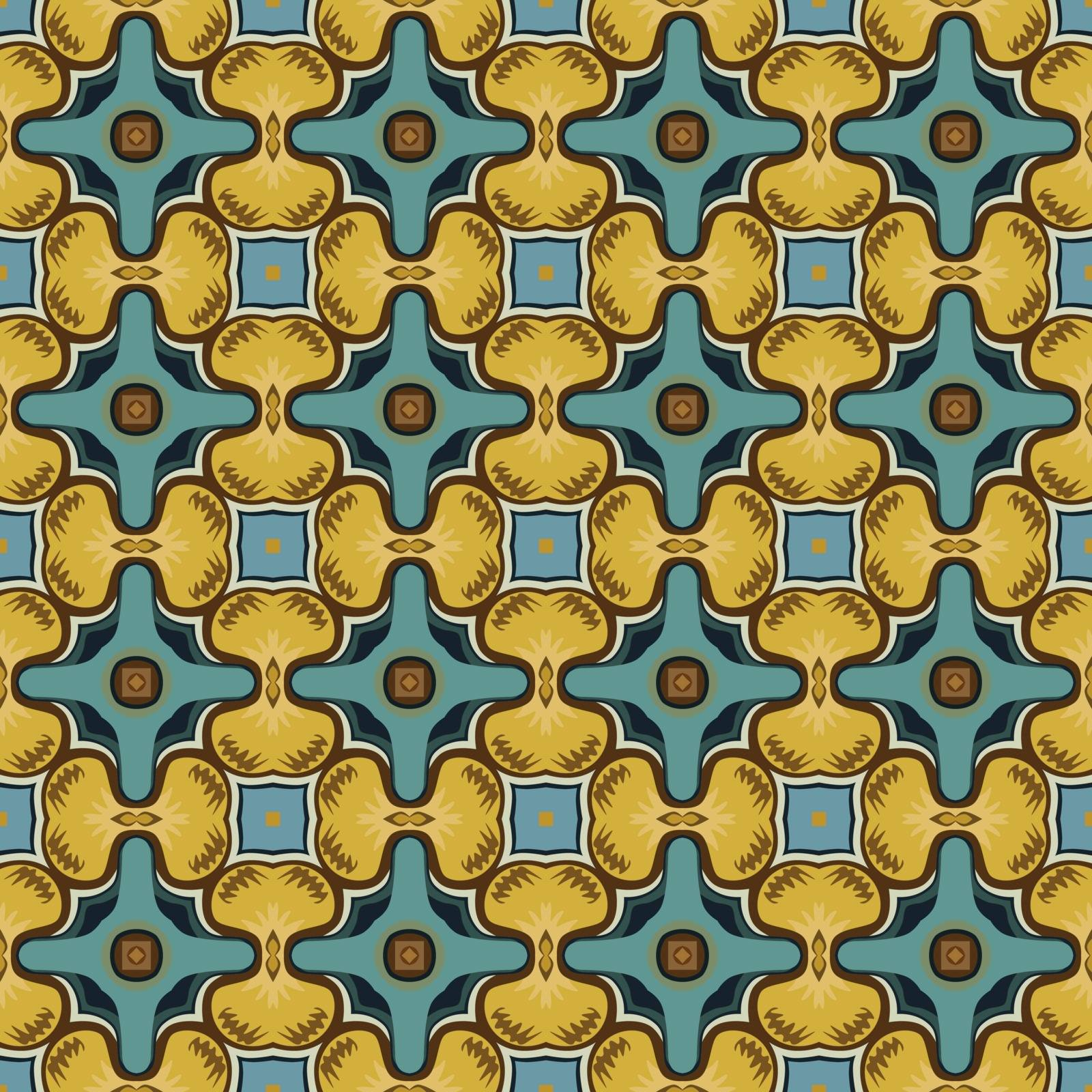 Seamless illustrated pattern made of abstract elements in beige,blue, yellow and brown