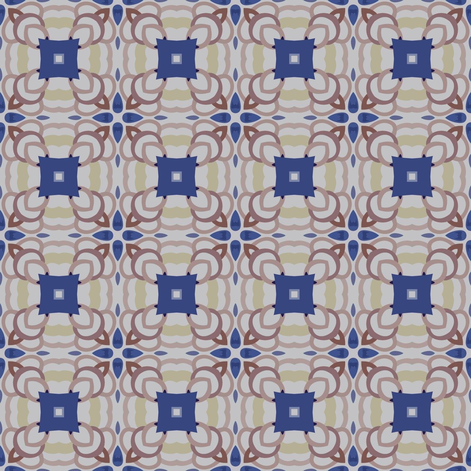 Seamless illustrated pattern made of abstract elements in beige, yellow and shades of blue and brown
