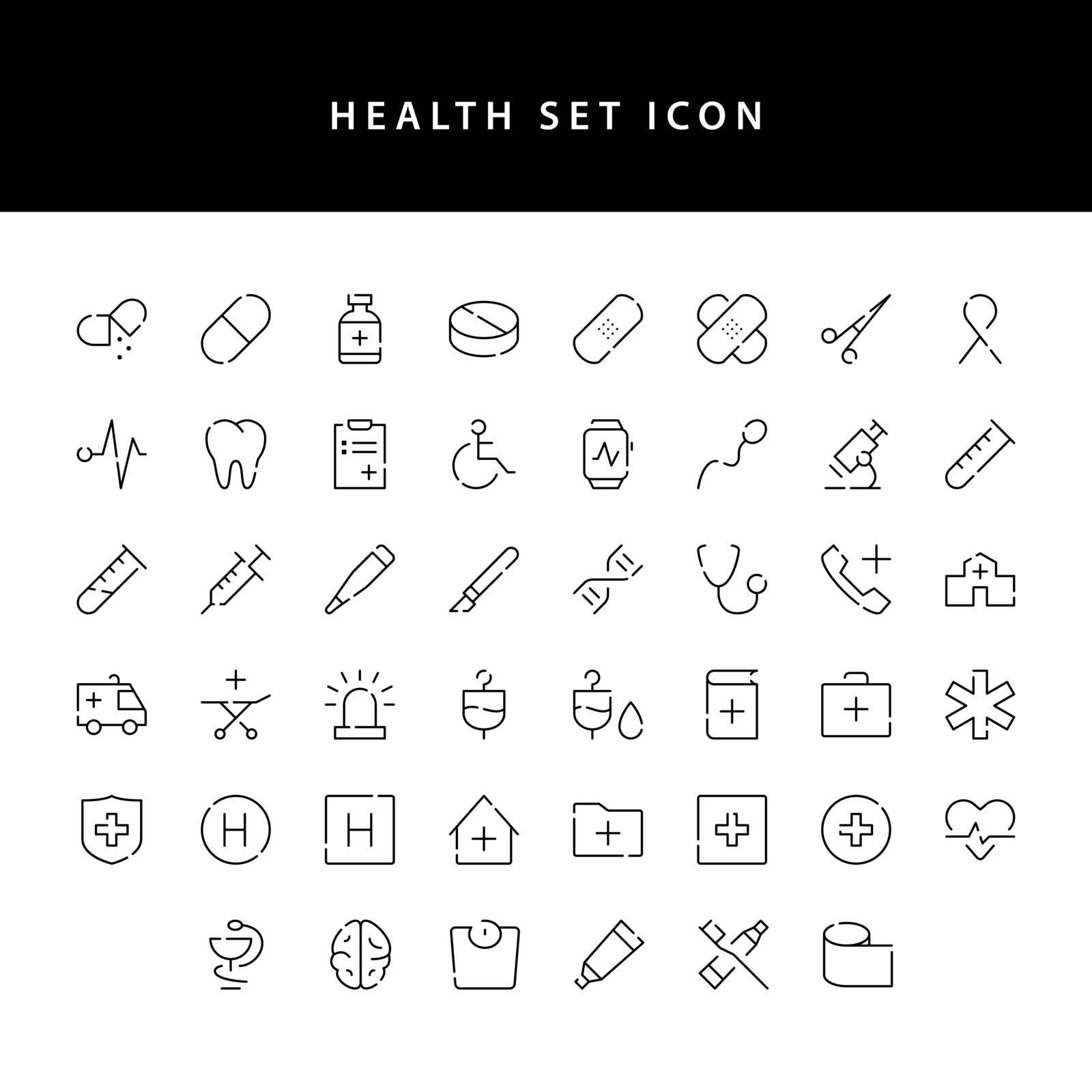 healt icon set outline set