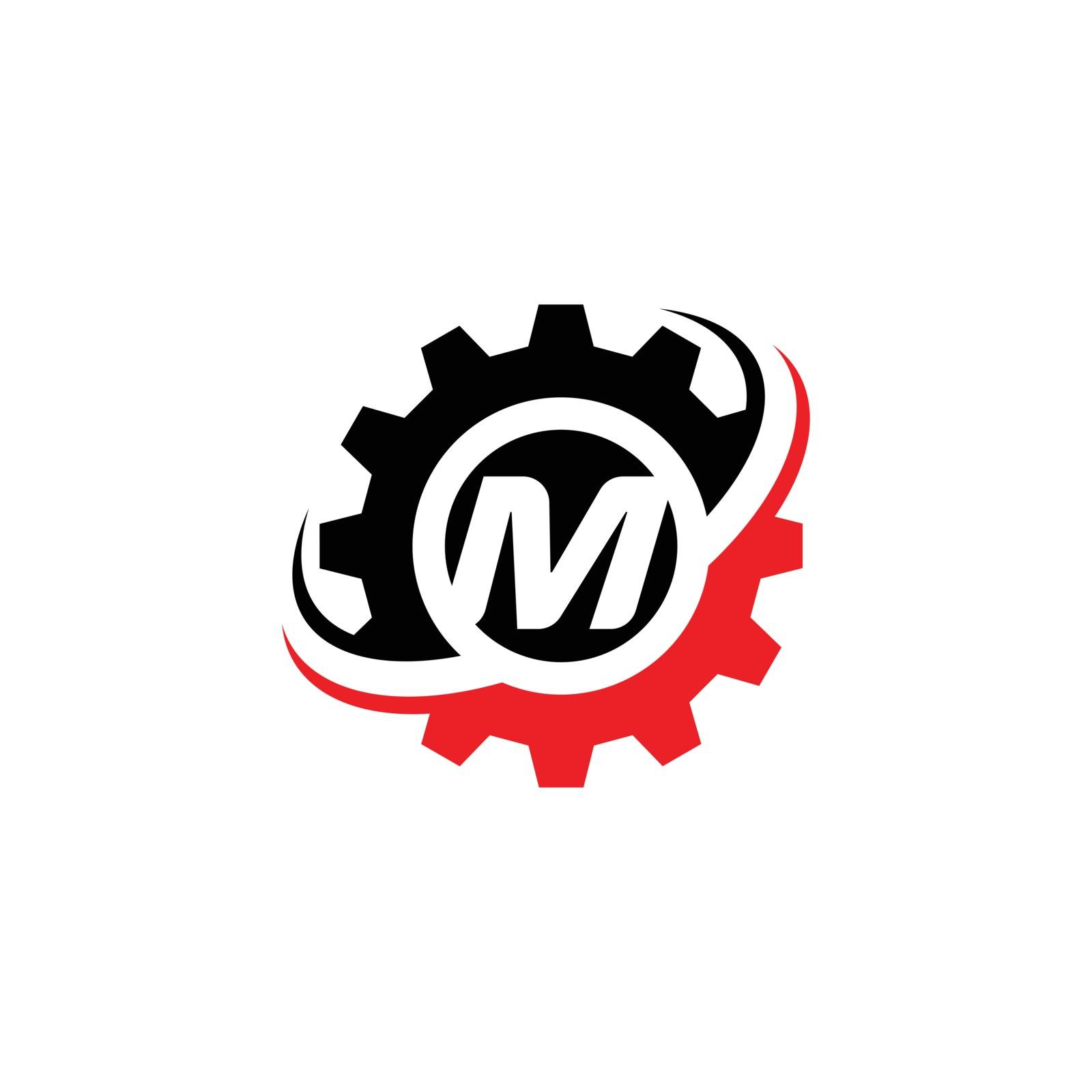 Letter M Gear Logo Design Template