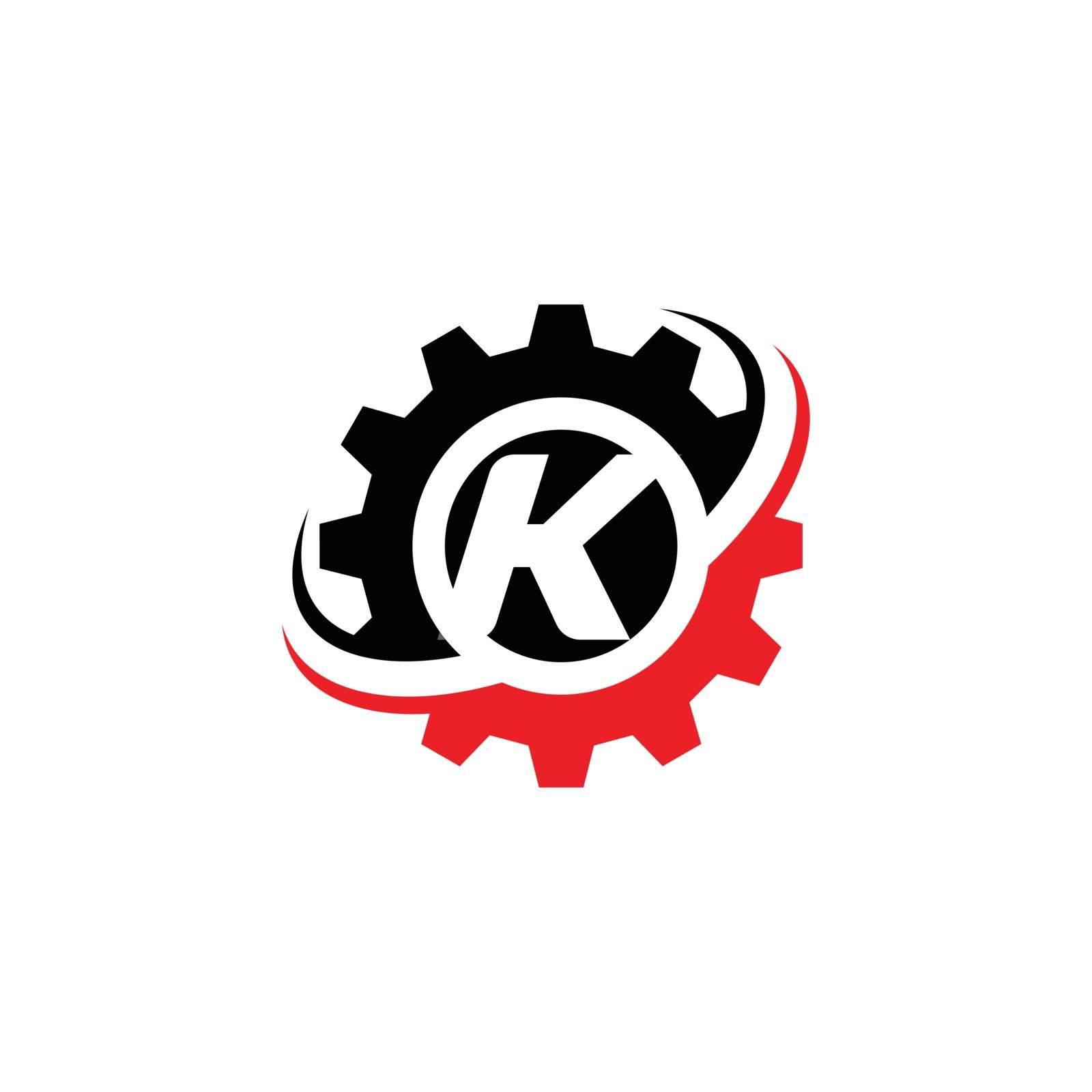 Letter K Gear Logo Design Template