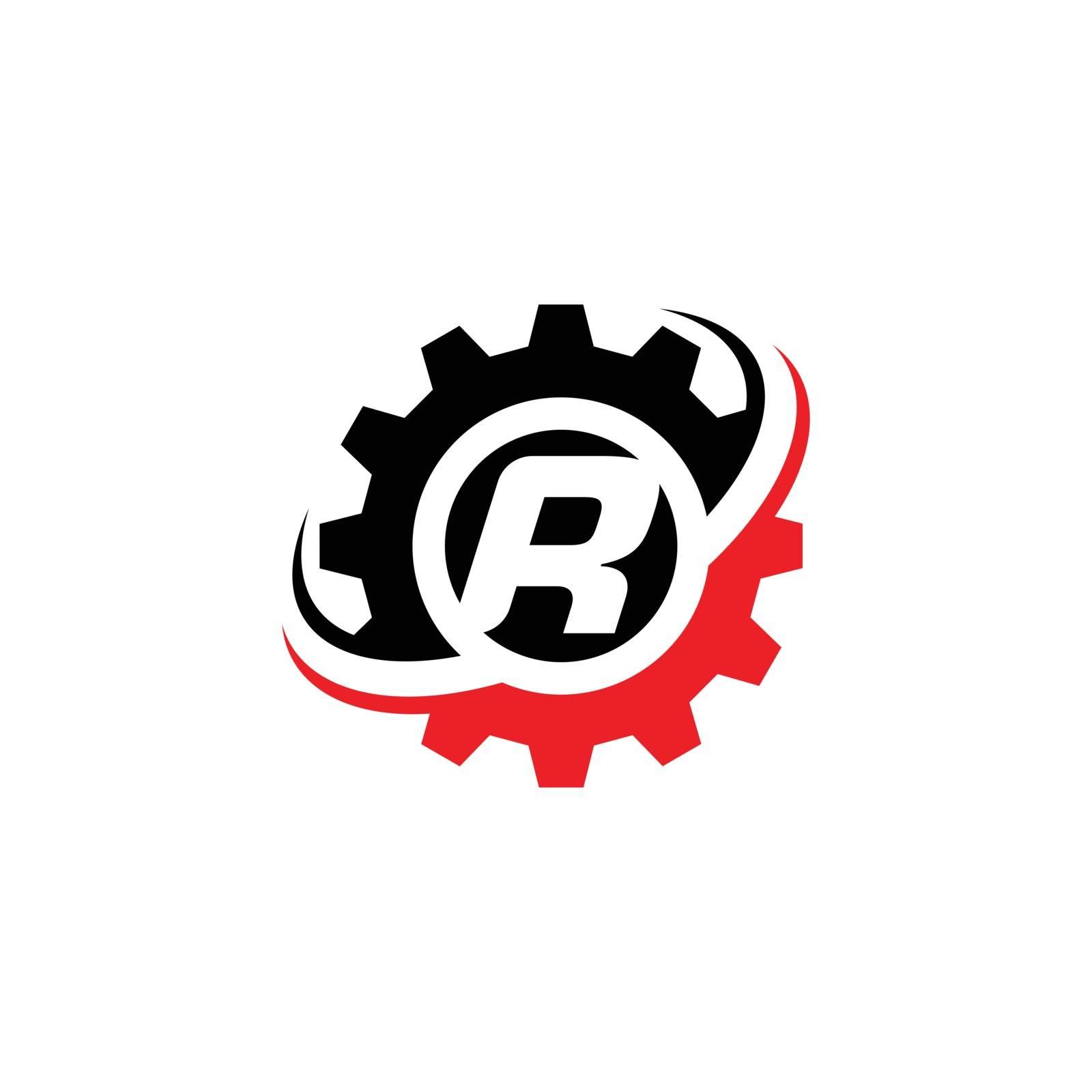 Letter R Gear Logo Design Template