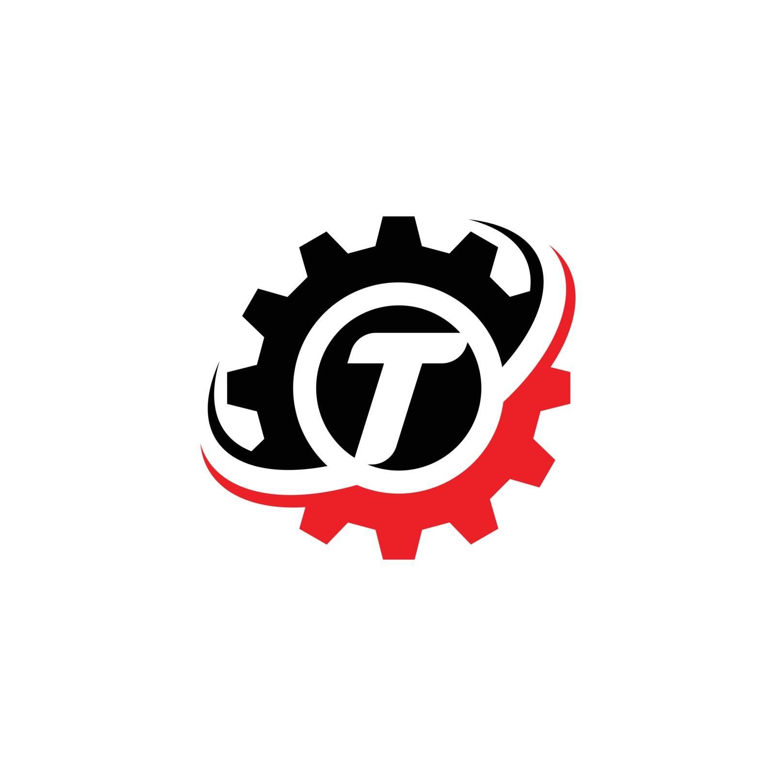 Letter T Gear Logo Design Template