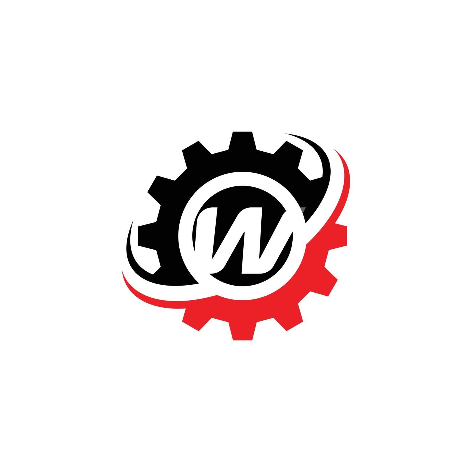 Letter W Gear Logo Design Template