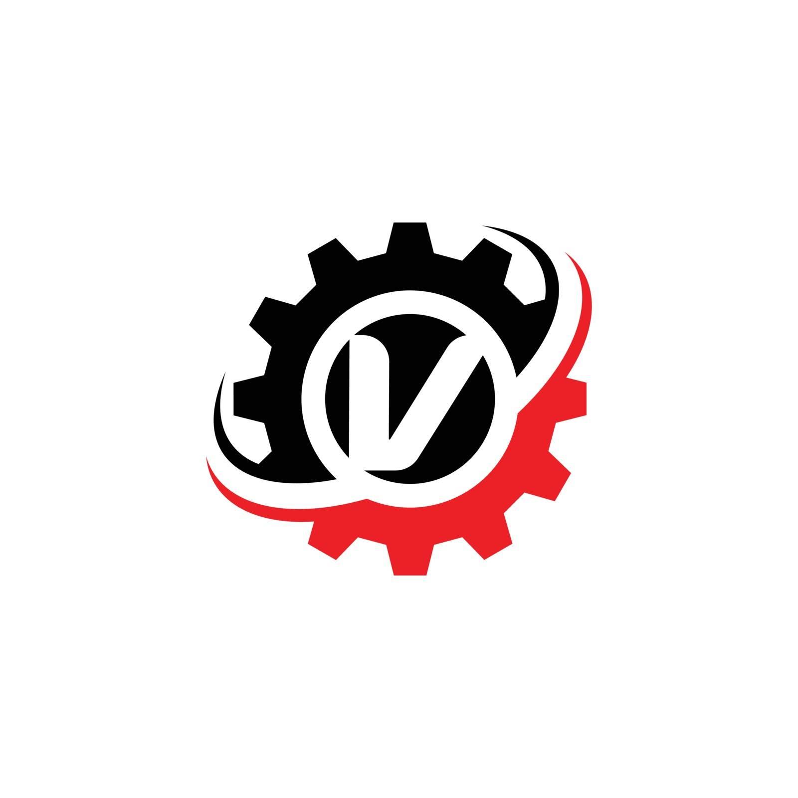 Letter V Gear Logo Design Template