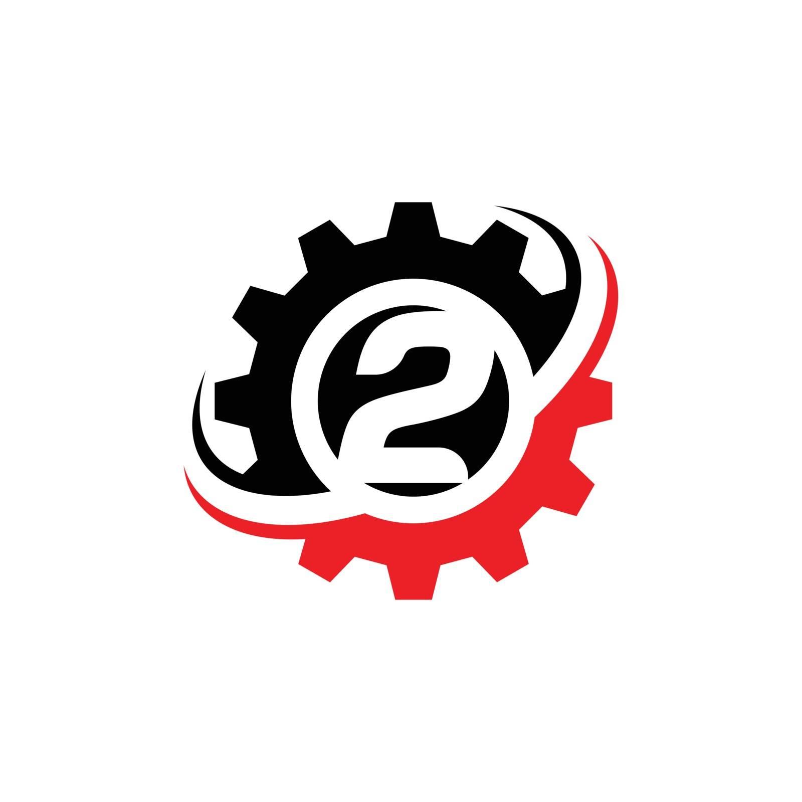 Number 2 Gear Logo Design Template