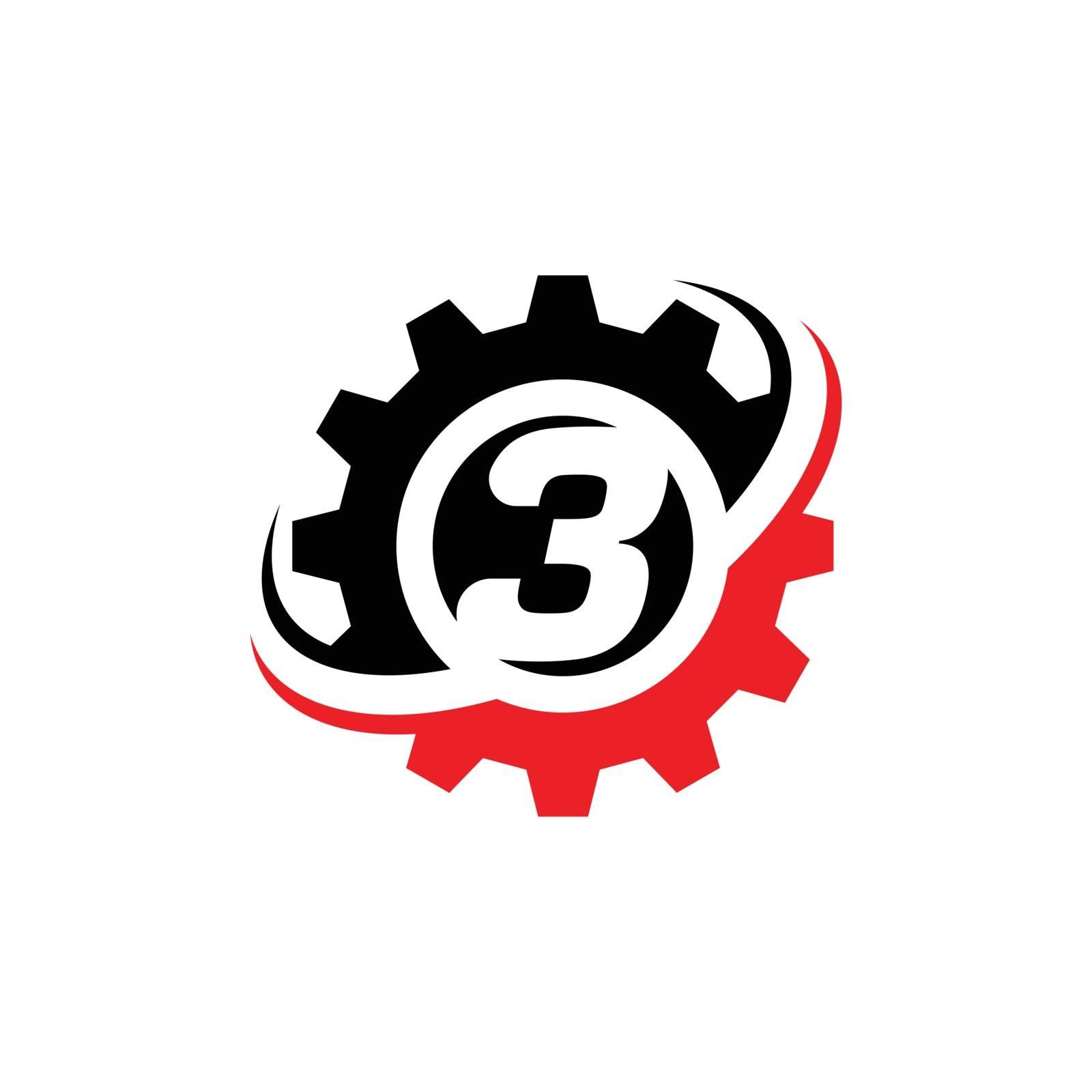 Number 3 Gear Logo Design Template