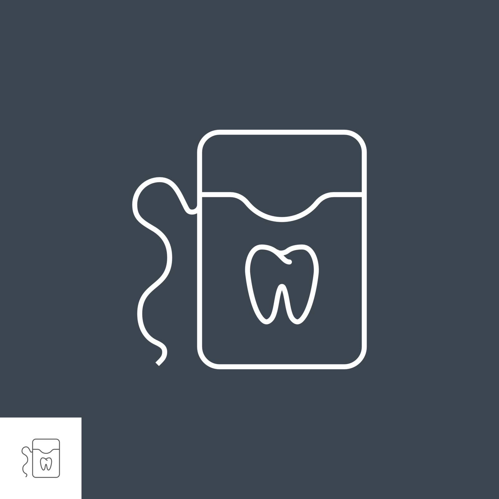 Dental Floss Line Icon. Dental Floss Line Related Vector Icon. Isolated on Black Background. Editable Stroke.