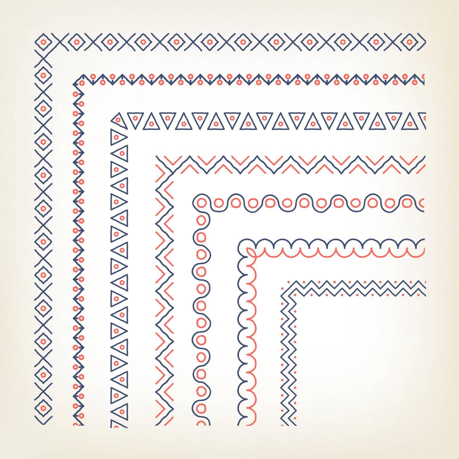 Vercotr set of decorative borders with corner elements