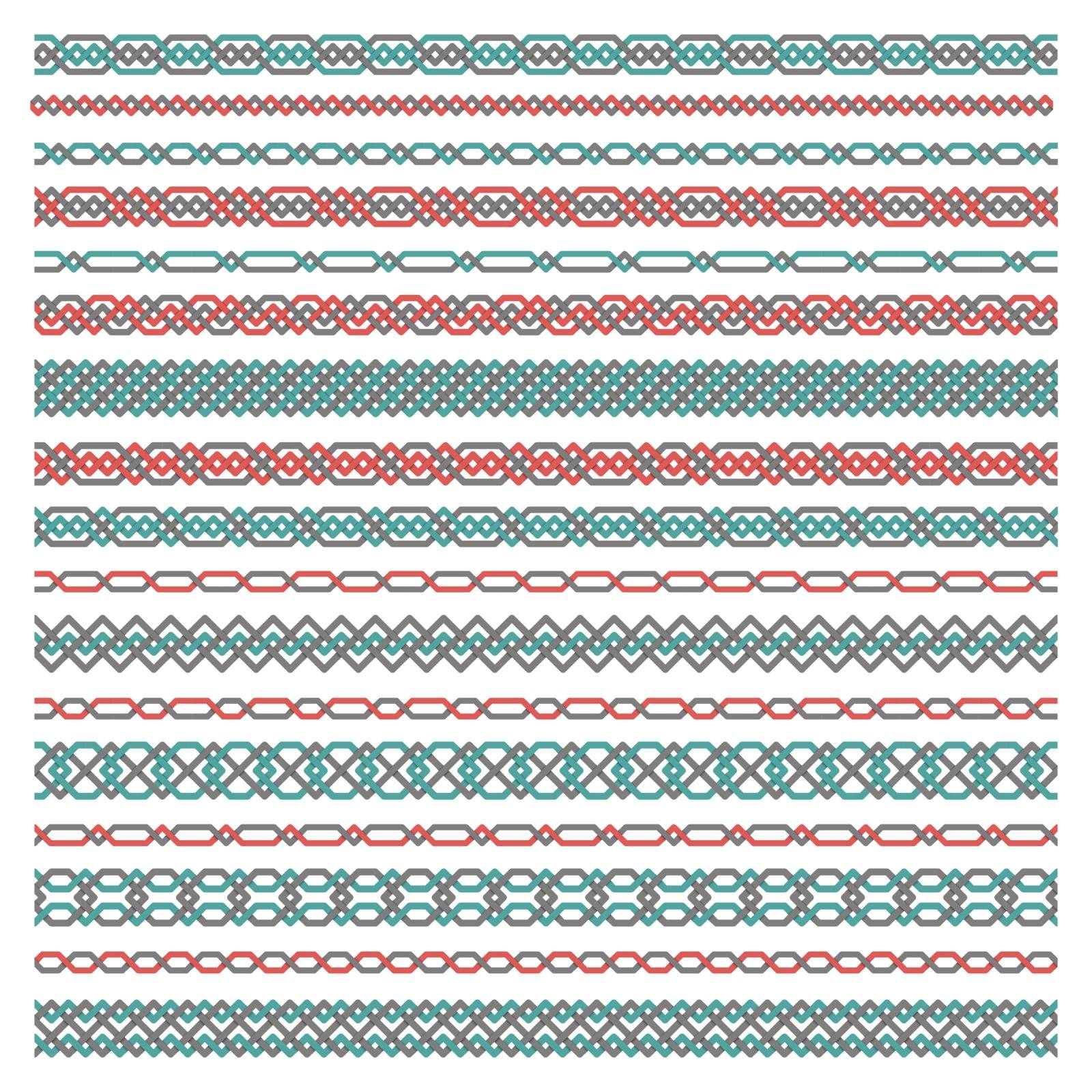 A large set of seamless borders of interwoven tapes